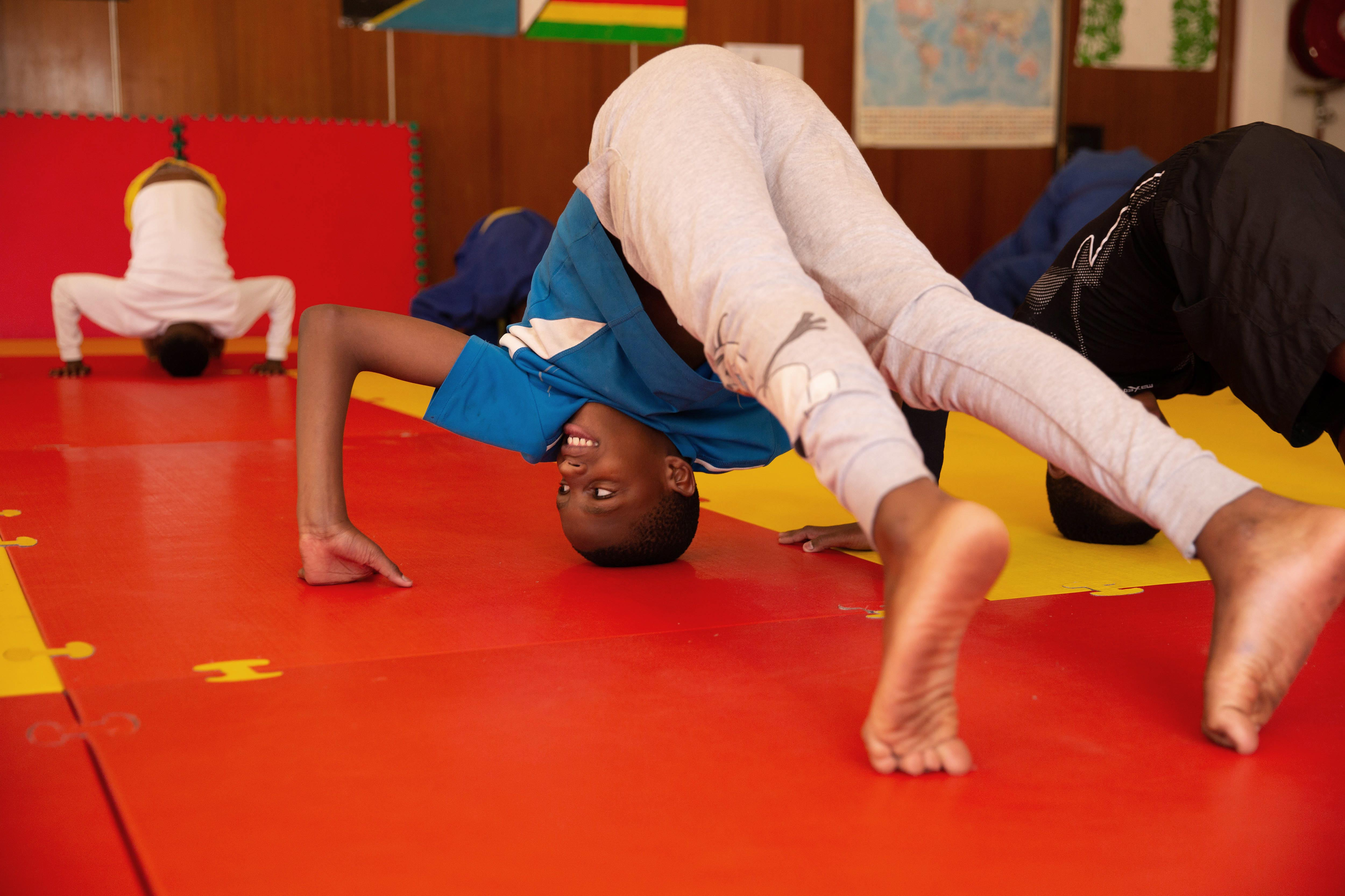 14 November 2019: Junior Tshabalala, 12, takes part in his first judo class.