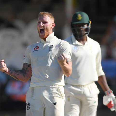 7 January 2020: Ben Stokes celebrates the wicket of Vernon Philander, giving England the win over South Africa in the second Test match of the series at Newlands in Cape Town. (Photograph by Stu Forster/Getty Images)