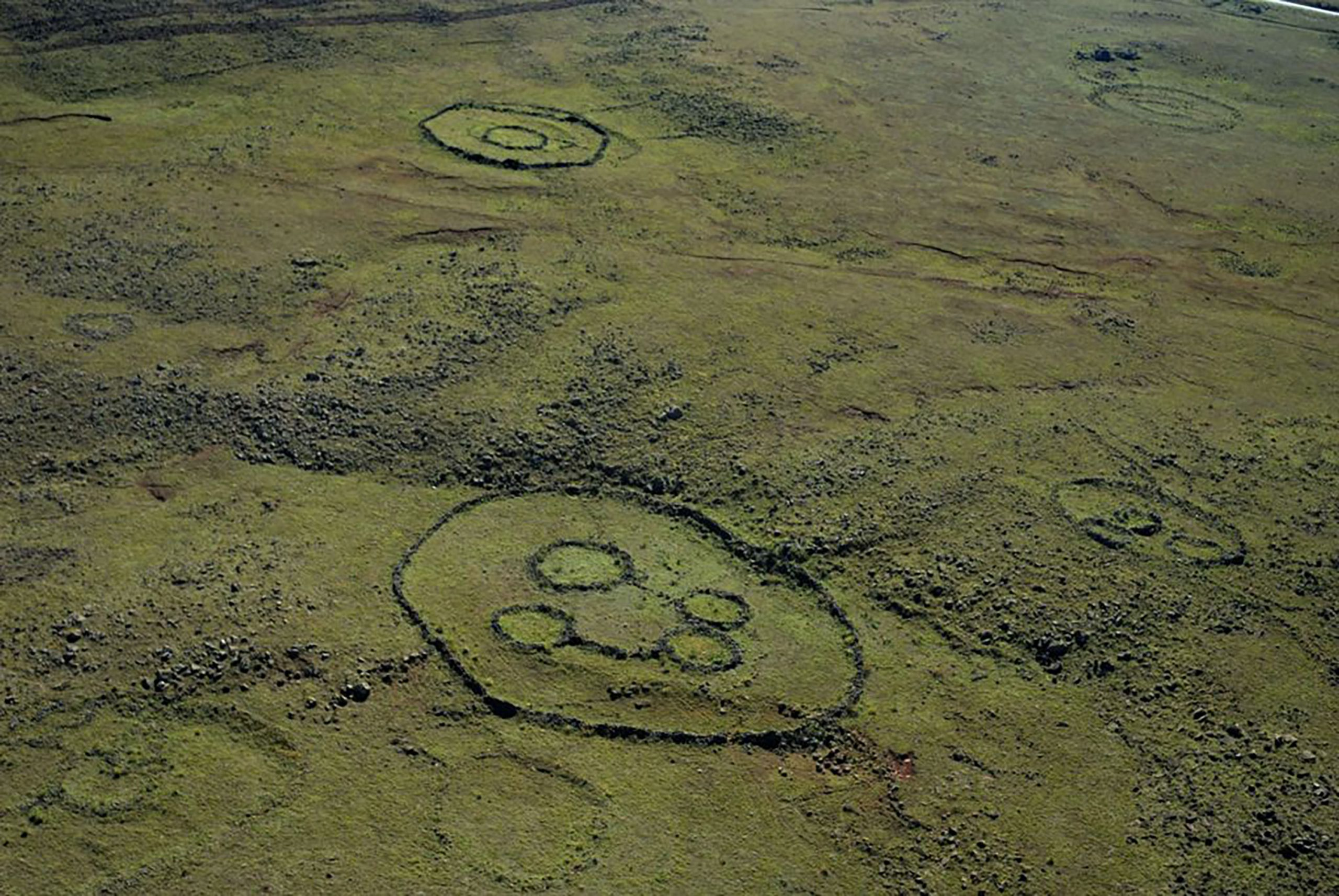 Undated: An aerial photo showing the stone structures left behind by the Bokoni. (Photograph by Graeme Williams/Wits University)