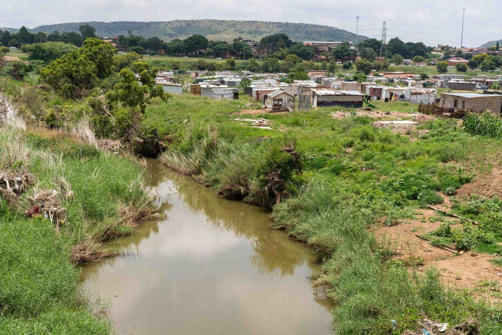 21 January 2020: Months after flooding, the Moretele river is calm, in stark contrast to the raging waters that wreaked havoc on people and housing in December.