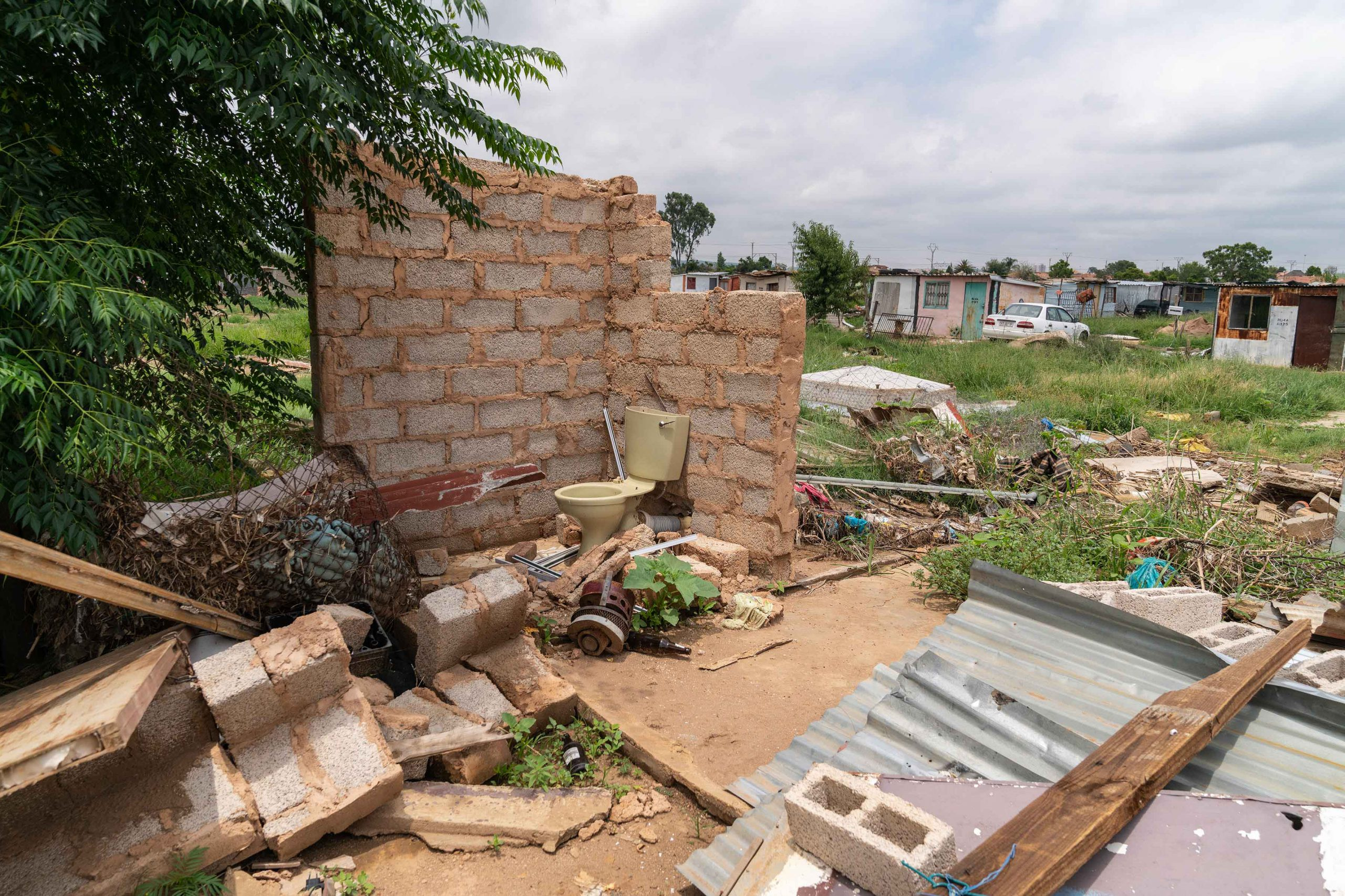 21 January 2020: A toilet and cistern are all that remain of this home at the Seven Seven shack settlement in Mamelodi.