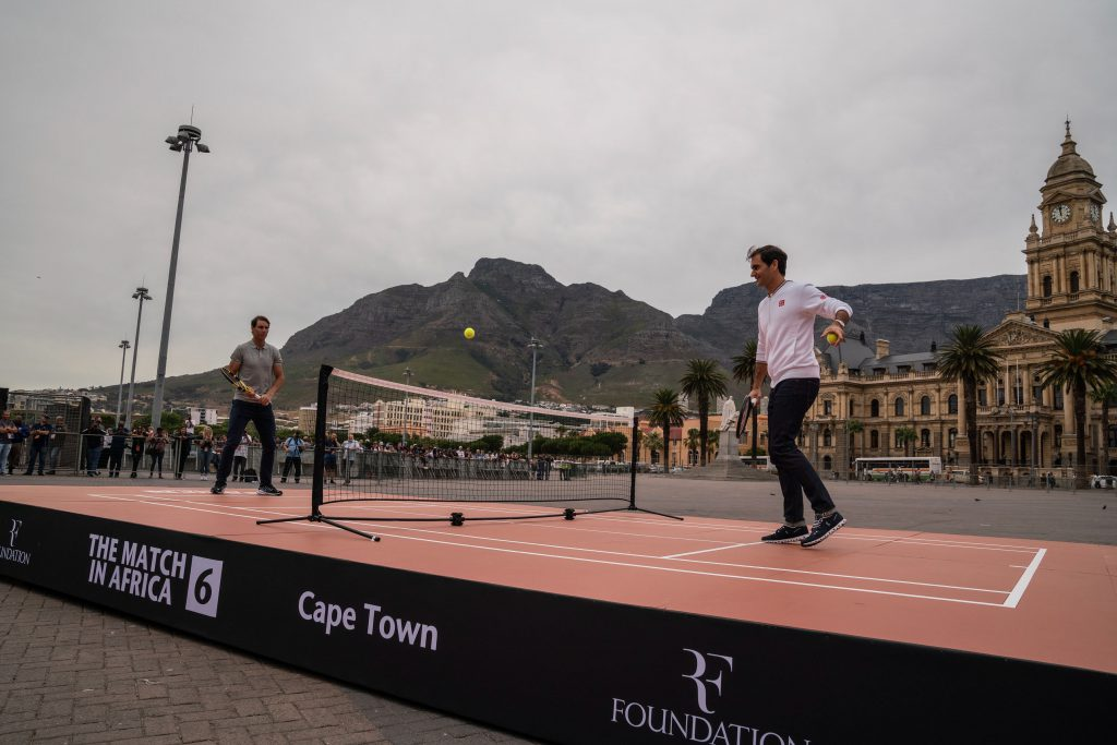 7 February 2020: Roger Federer and Rafael Nadal at the grand parade before the big event.