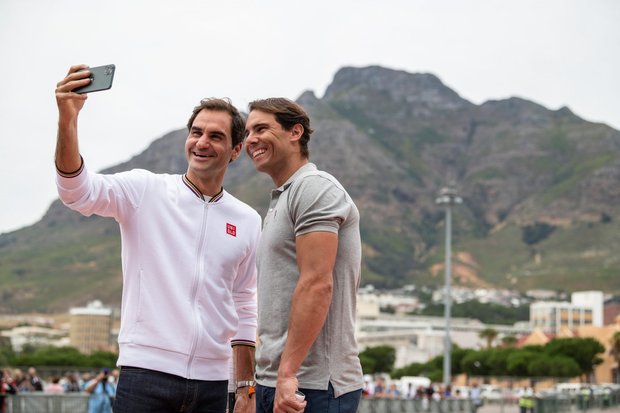 7 February 2020: Competitors Roger Federer and Rafael Nadal enjoy some pre-match fun.