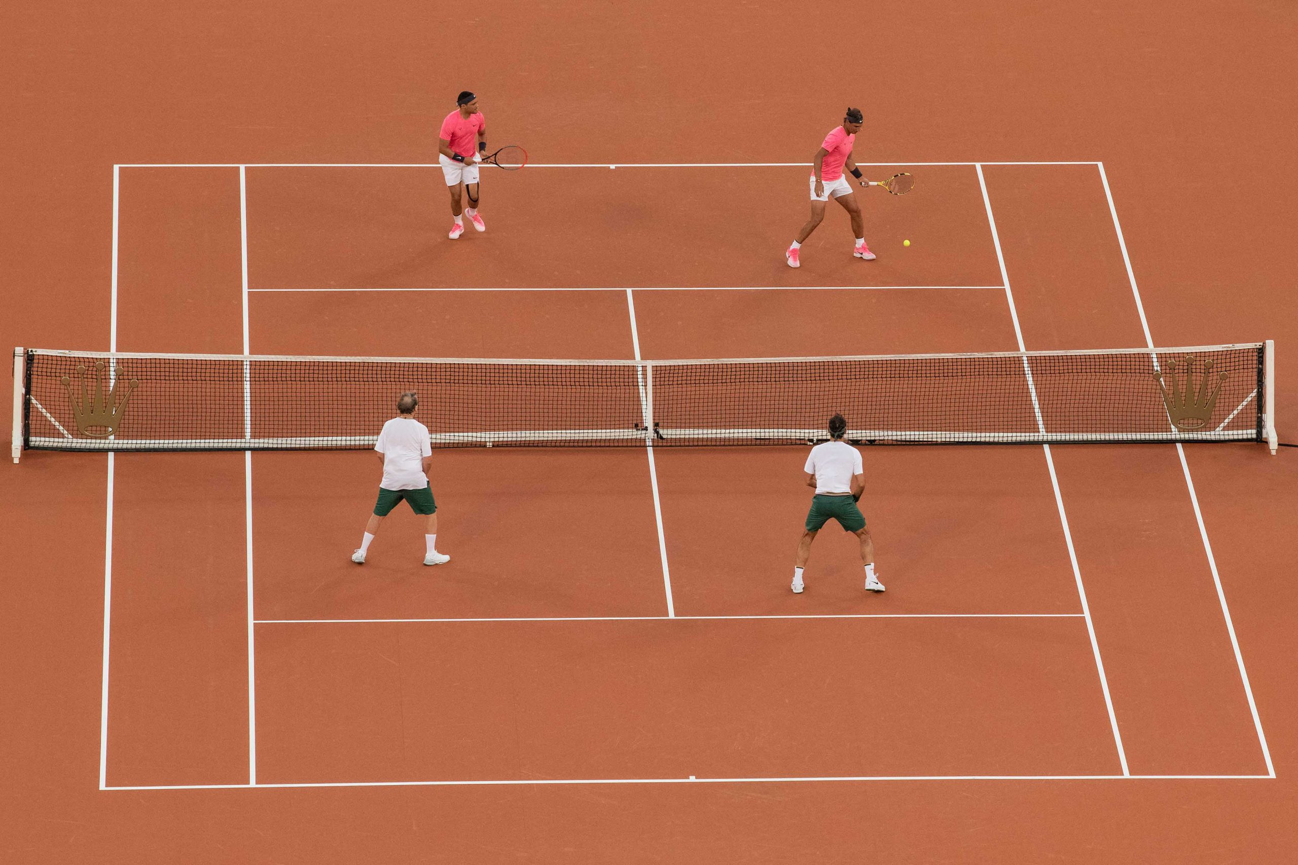 7 February 2020: The event opened with a doubles game between Roger Federer and Bill Gates and Rafael Nadal and Trevor Noah.