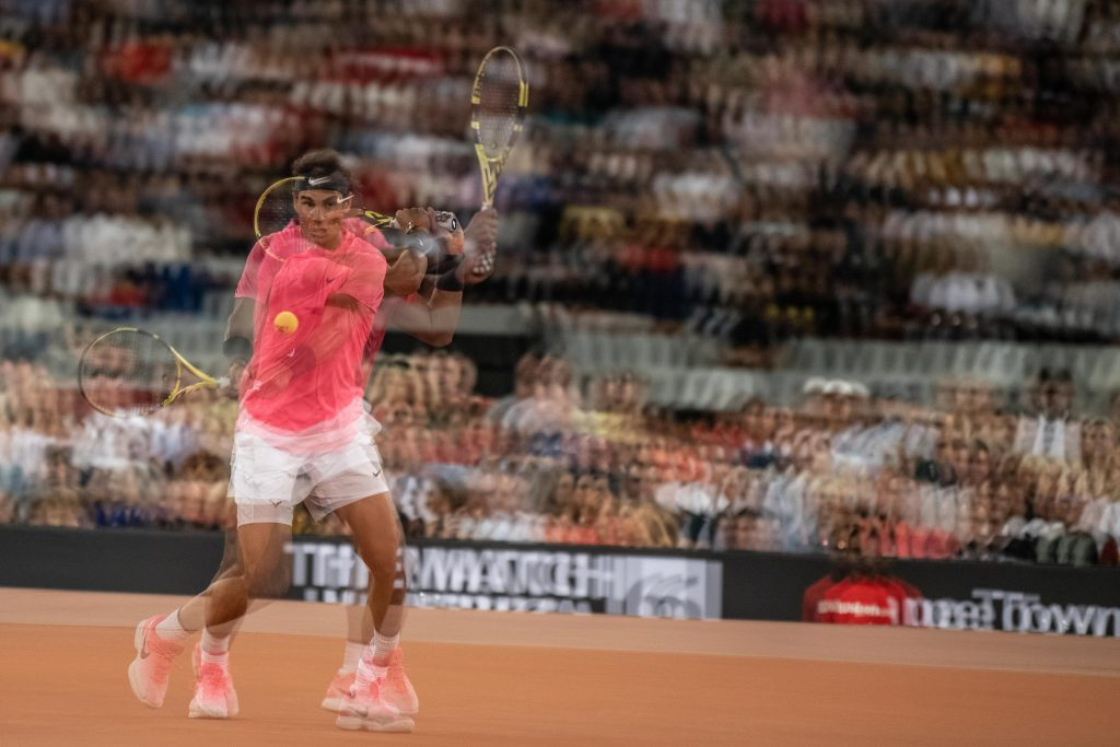 7 February 2020: A multiple exposure image of Rafael Nadal in action as he plays against Roger Federer.