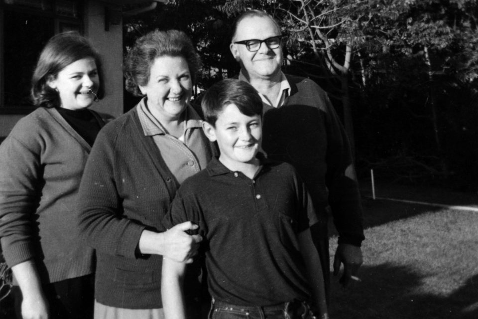 Circa 1967: Left to right, Jill, Joy, Neil and Aubrey Aggett outside their home in Somerset West, South Africa. (Photograph courtesy of Jonathan Ball Publishers)