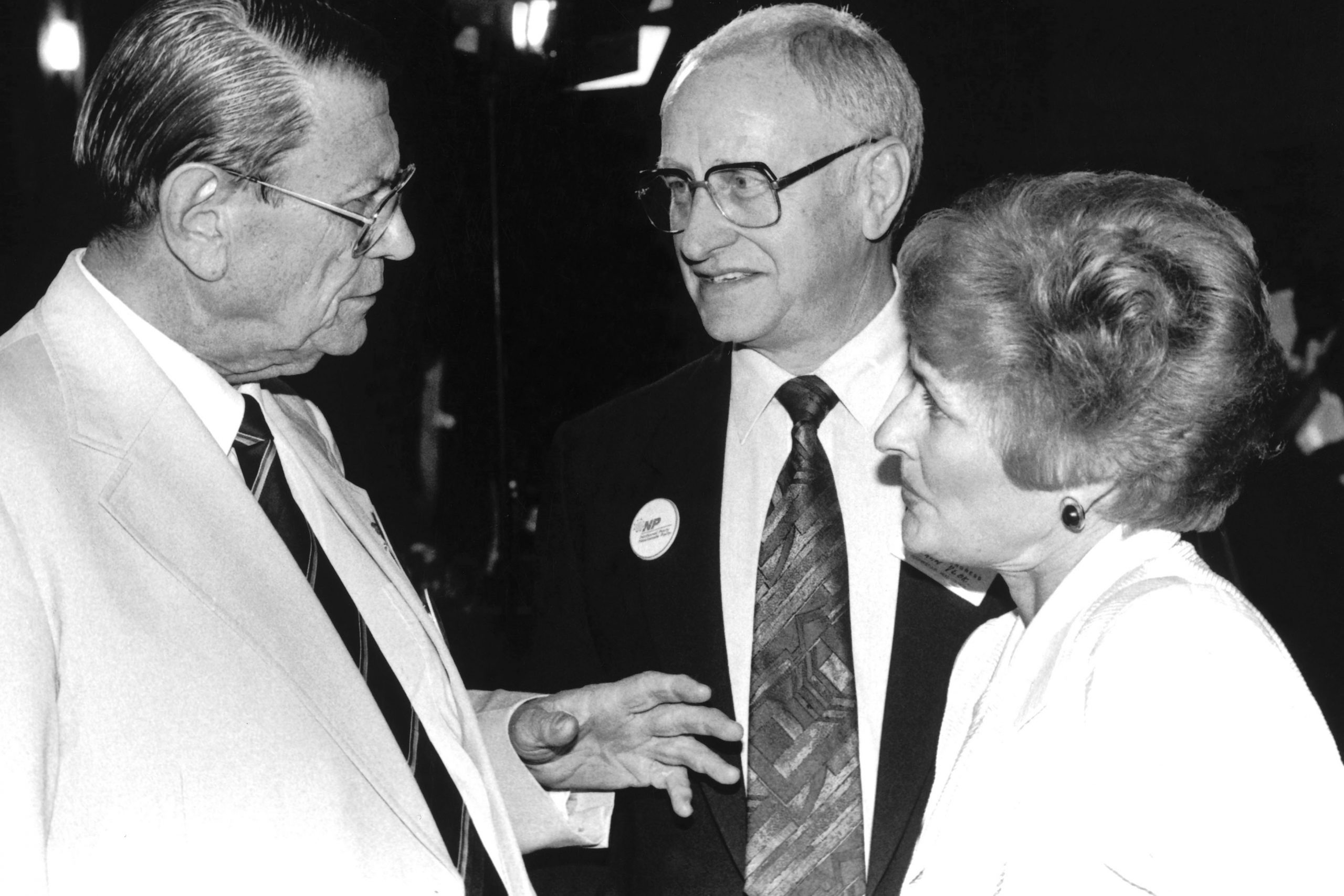 September 1993: From left, former minister of manpower utilisation Fanie Botha with apartheid minister of law and order Adriaan Vlok and his wife. (Photograph by Reuters)
