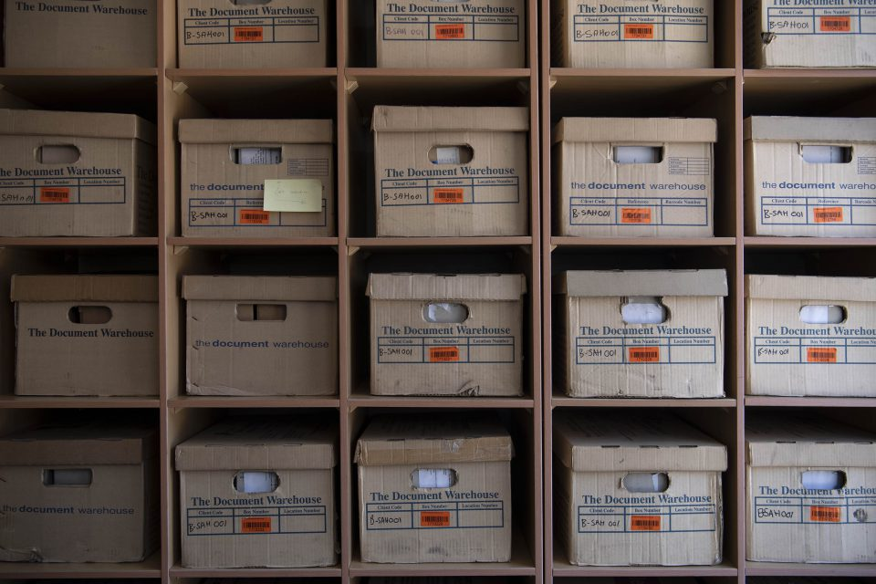 3 February 2020: Boxes filled with historical records are stacked high in the reading room of the South African History Archive.