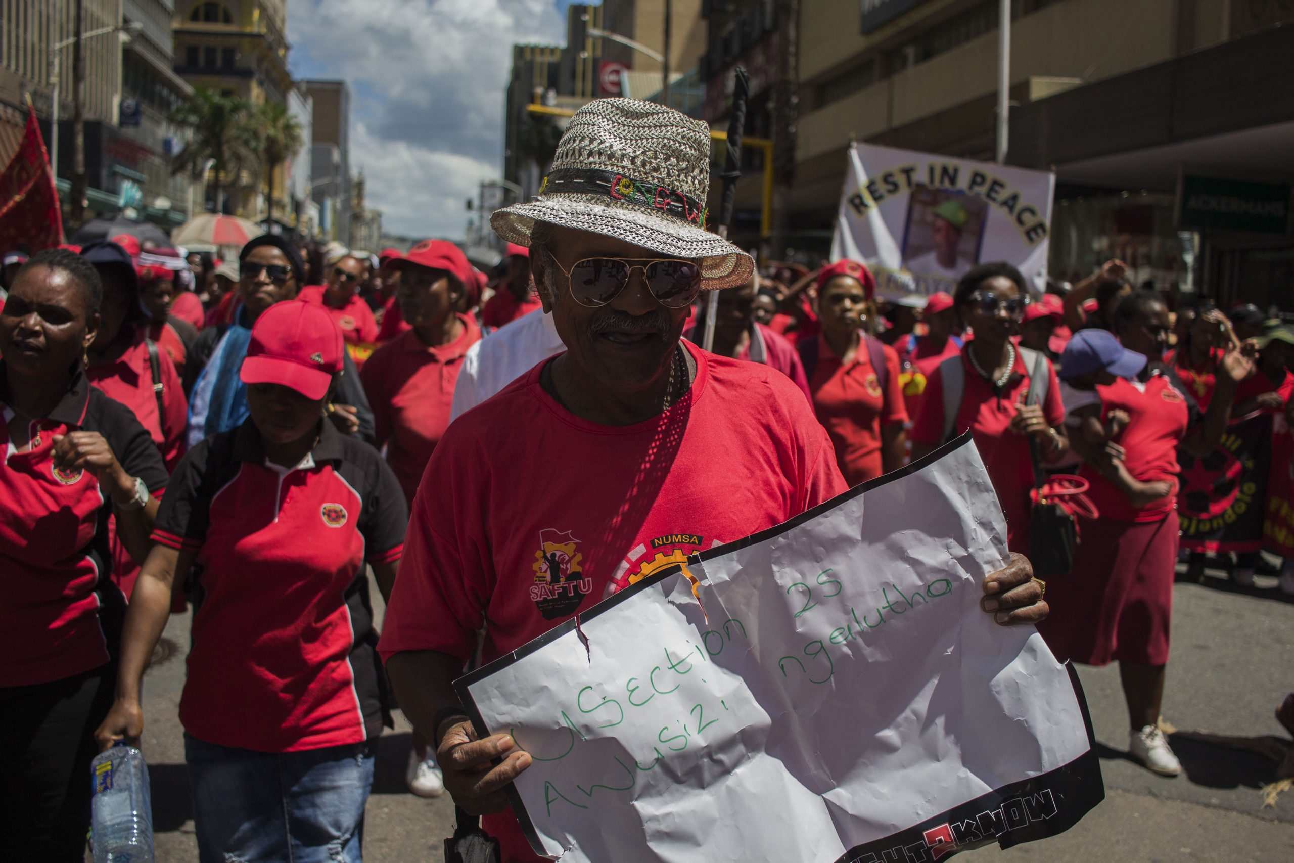 24 February 2020: Members and supporters of Abahlali baseMjondolo came out in large numbers for a march in Durban to air their views on the issue of land expropriation without compensation.