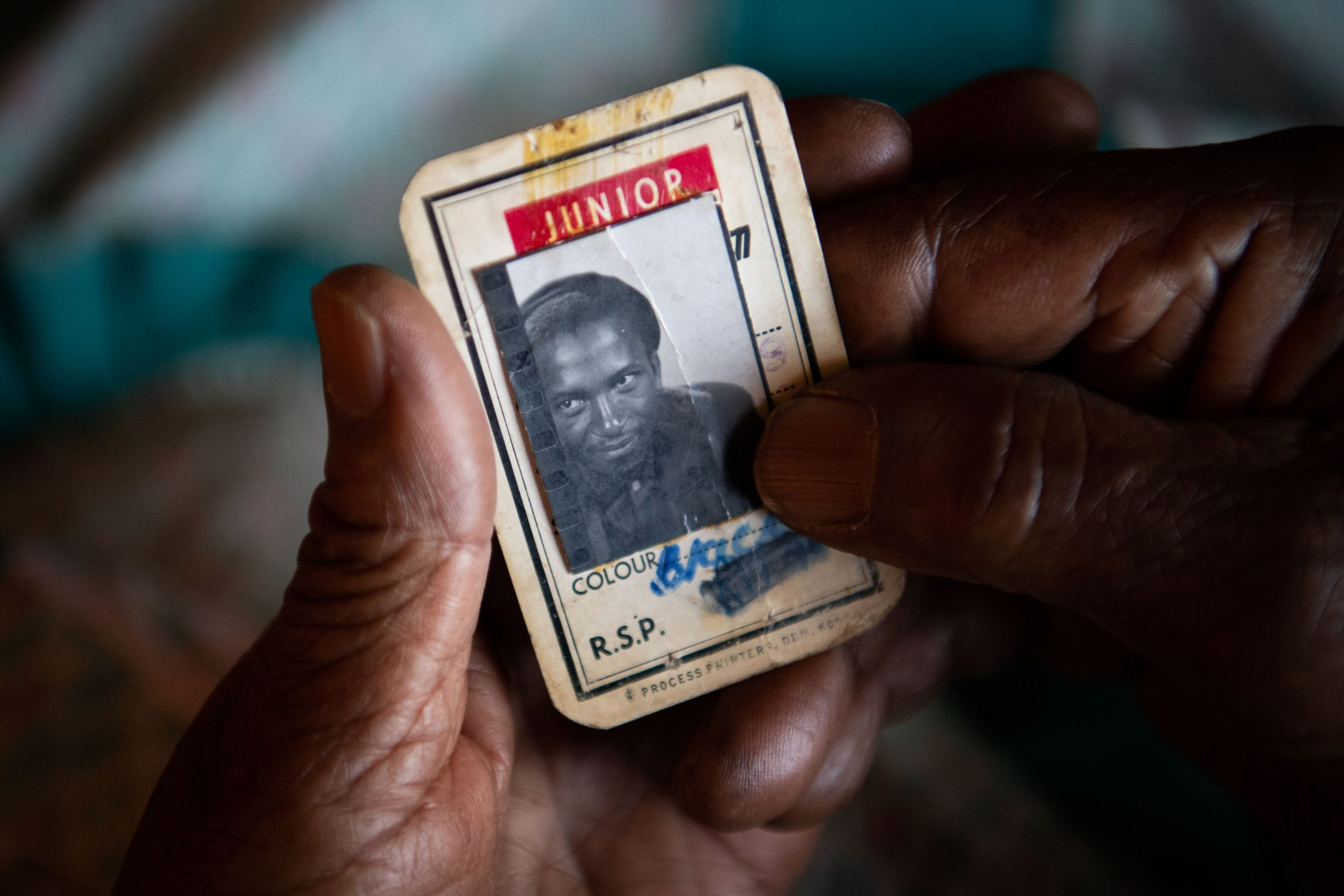 3 December 2019: Catherine Hlatshwayo holds an identification card that belonged to Ernest Cole.