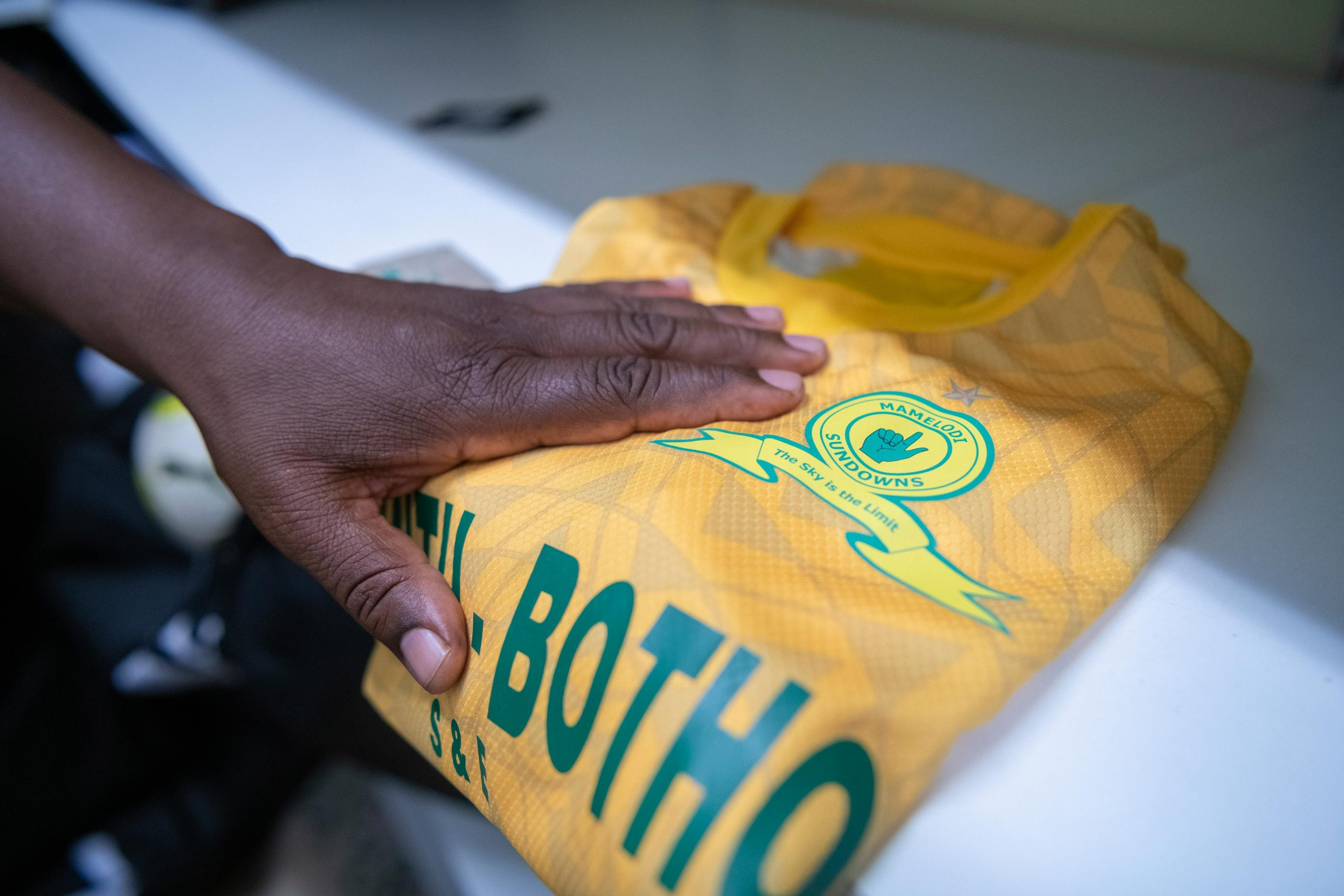 20 February 2020: Sundowns' famous canary yellow and blue strip.