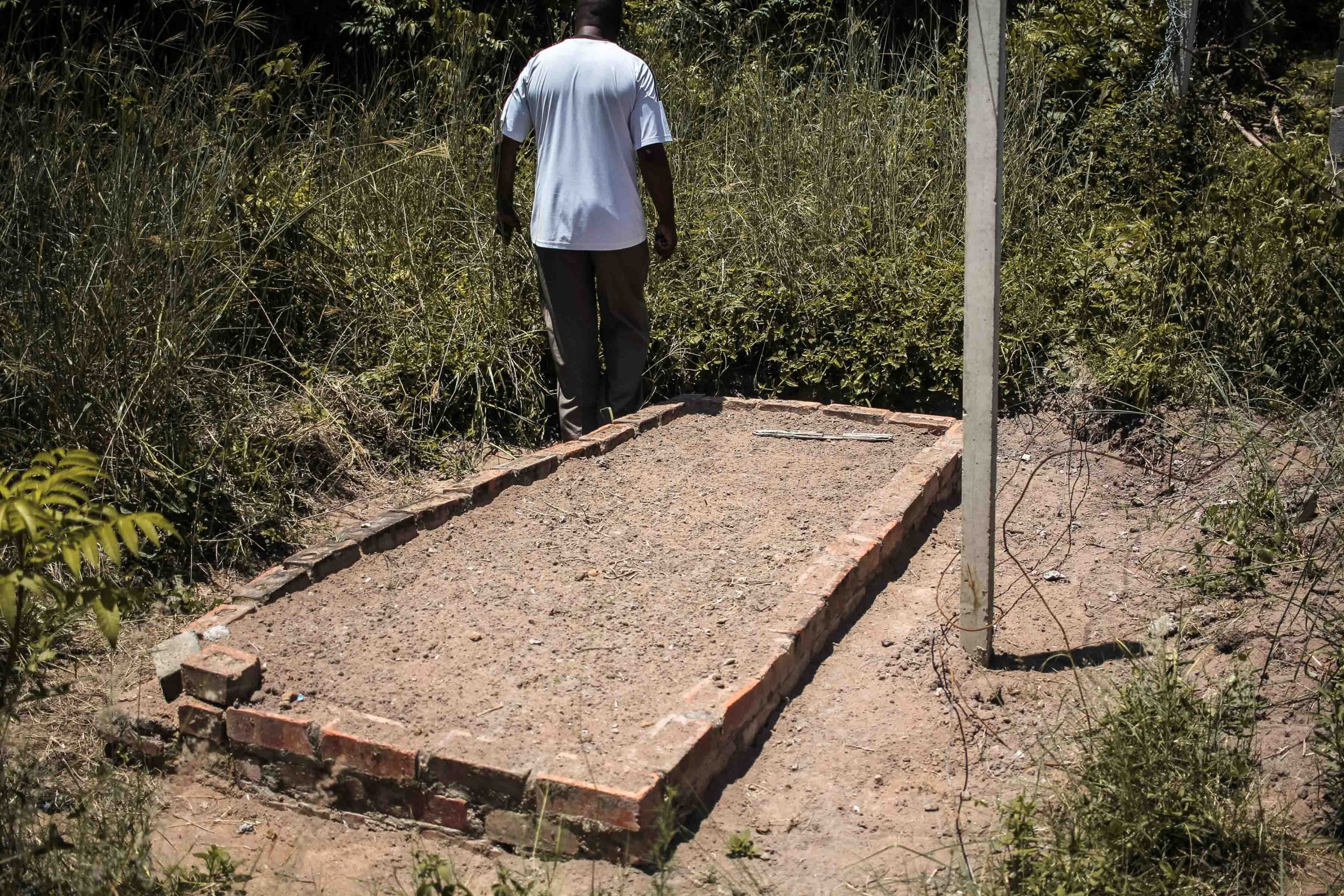 16 January 2020: An unmarked grave behind the primary school that Makhanya says belongs to a member of his family.