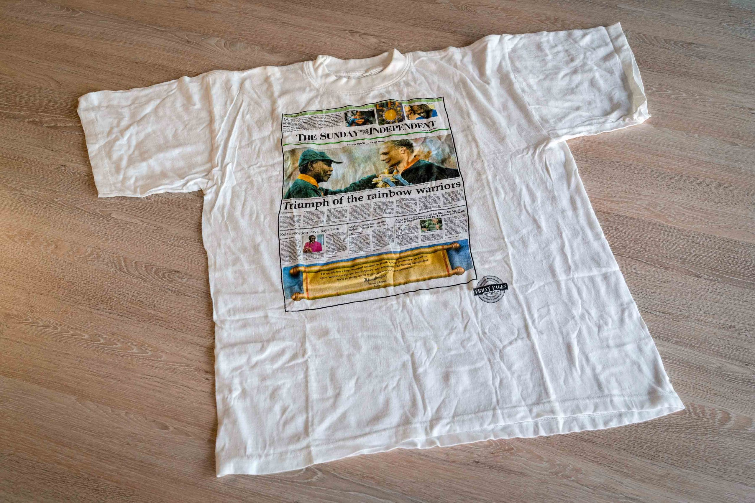 26 February 2020: The T-shirt commemorating the launch of The Sunday Independent in June 1995