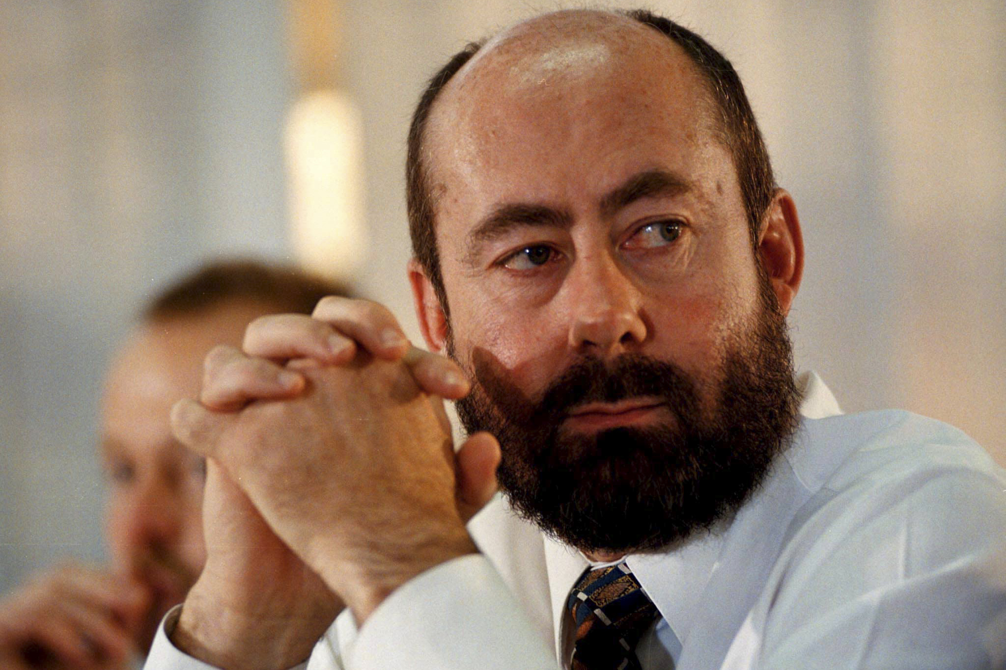 31 July 1998: Wouter Basson, the head of the apartheid government's chemical and biological weapons programme, during his testimony at the Truth and Reconciliation Commission in Cape Town. (Photograph by Reuters)