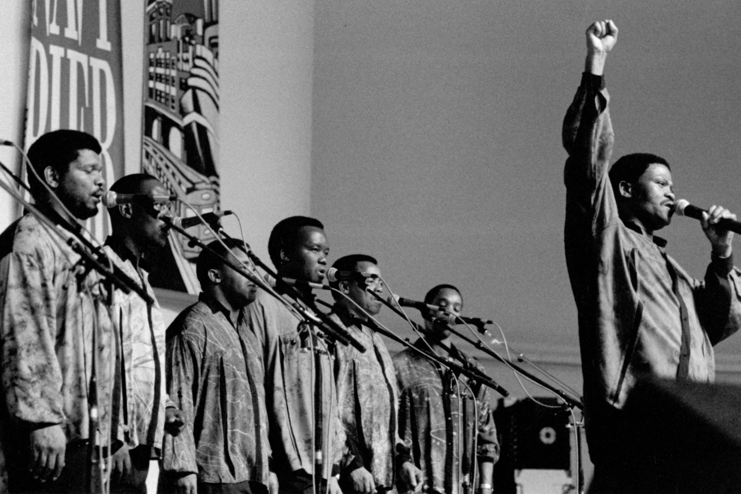 Circa 2000: Ladysmith Black Mambazo is an isicathamiya choir, traditionally all male. Nominated for 17 Grammy Awards, they have won five, most recently Best World Music Album in 2017. (Photograph by James Fraher/Michael Ochs Archives/Getty Images)