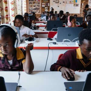 26 February 2020: From left, Zanele Mavume, 11, and Karabo Metsing, 11, using the newly opened computer lab at the African Children's Feeding Scheme Education Centre in Meadowlands, Soweto.