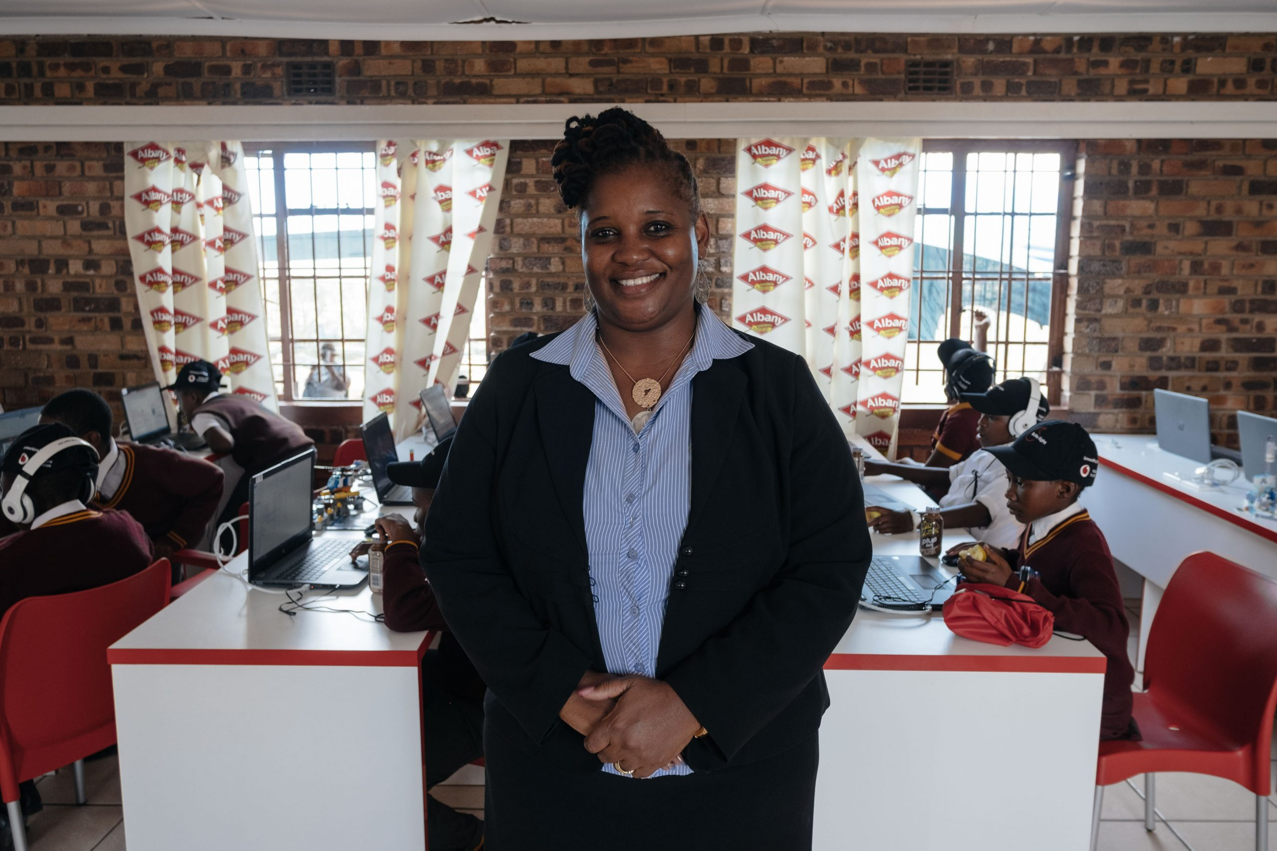 26 February 2020: Executive Director of the African Children's Feeding Scheme, Bertha Magoge, 49, at the computer lab in Meadowlands, Soweto.
