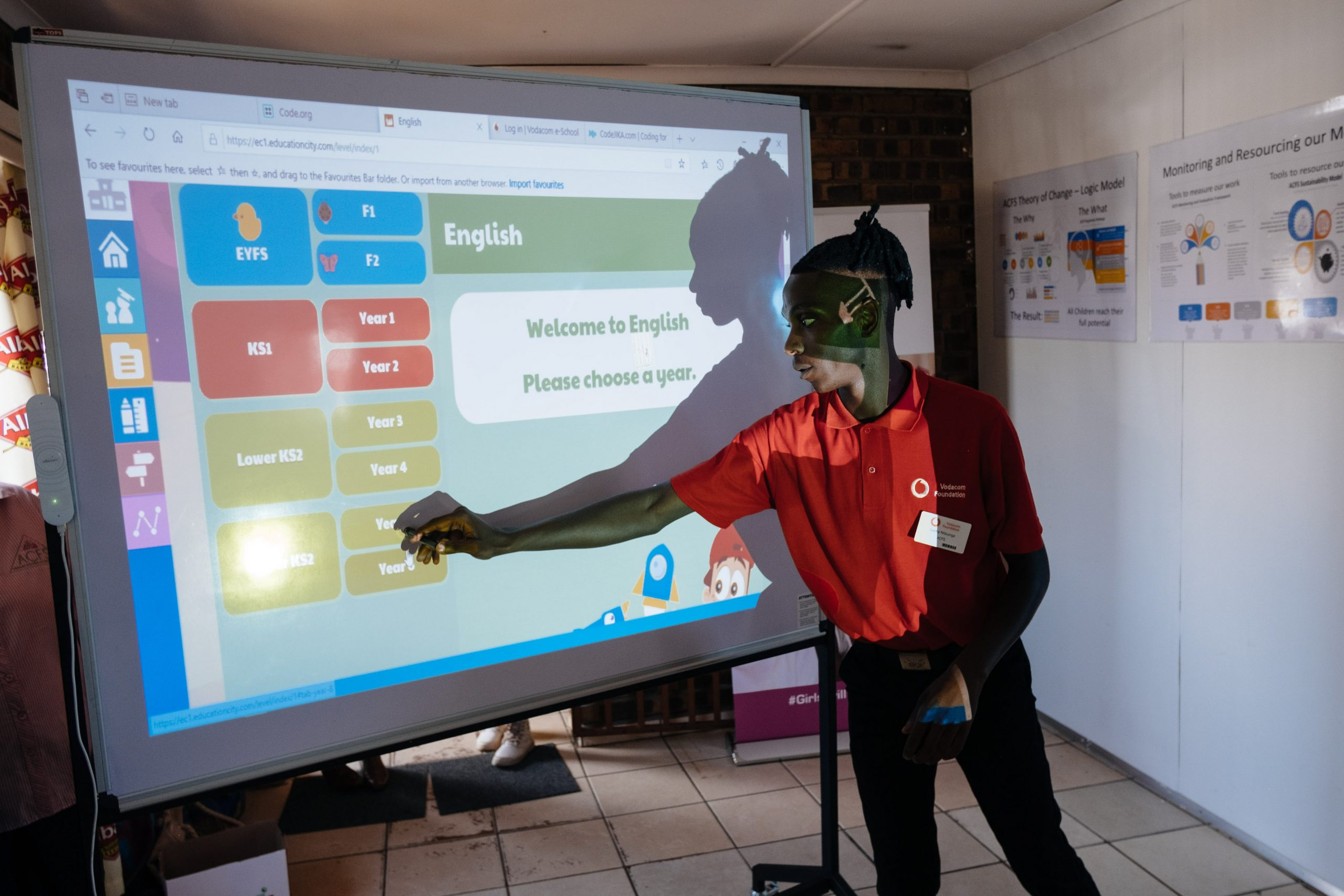 26 February 2020: African Children's Feeding Scheme volunteer Lucky Ndzunga, 26, demonstrates one of the online learning platforms used for skills development.