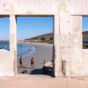 21 January 2020: Two high school sprinters train on the beach at Steenberg's Cove, a century-old fishing town in St Helena Bay on South Africa's West Coast.