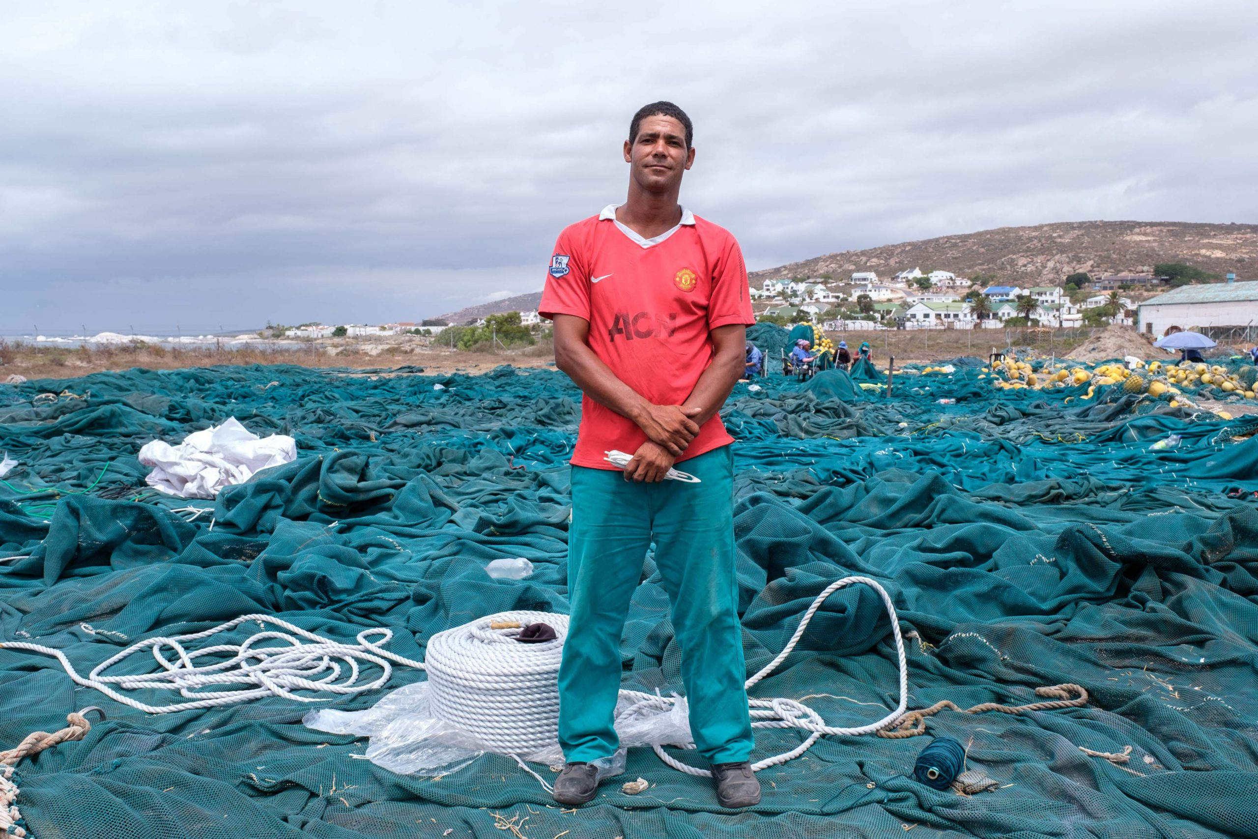 22 January 2020: Clinton Gordon standing on one of the nets he has helped repair.
