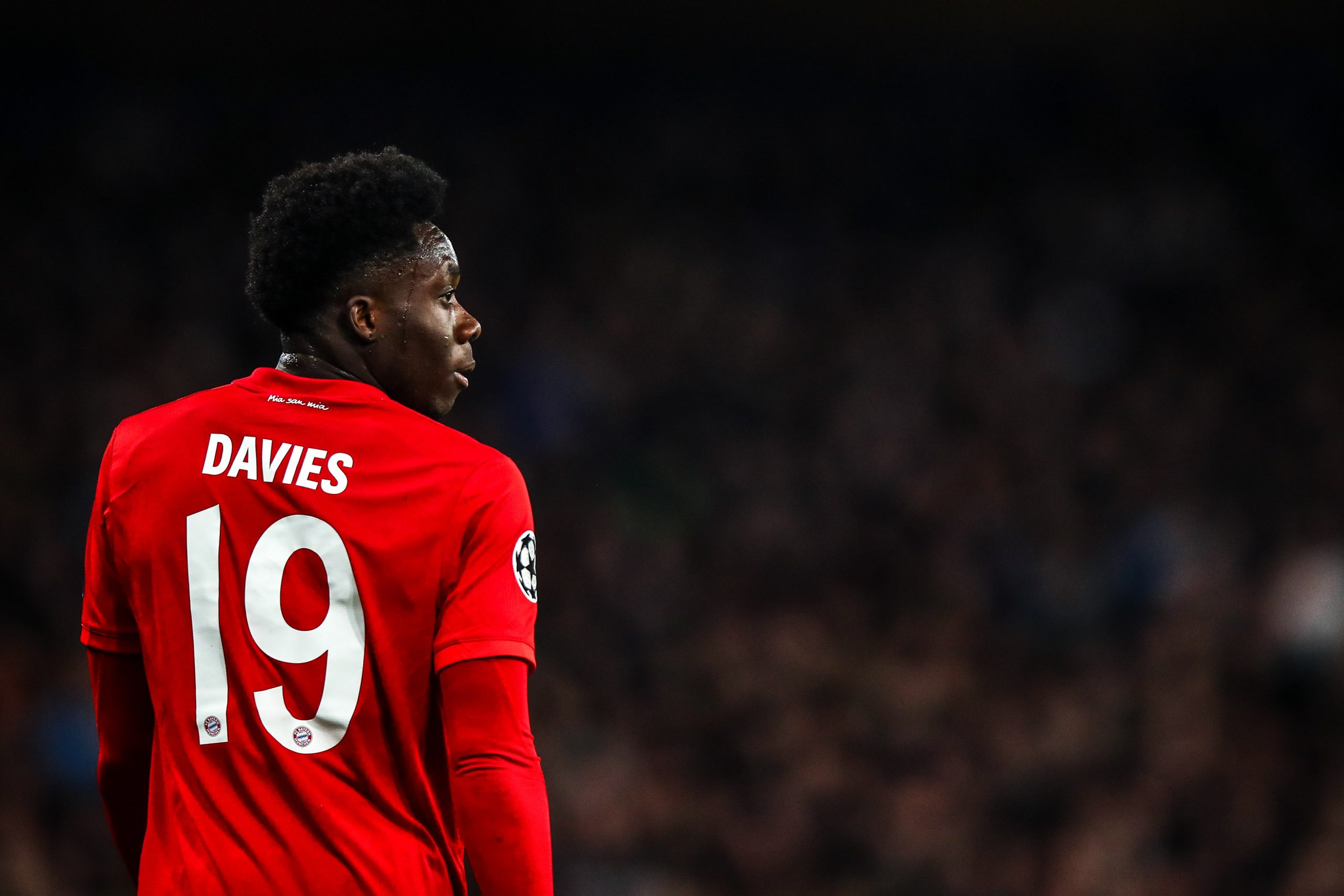 25 February 2020: Alphonso Davies during Bayern Munich's Uefa Champions League first-leg match against Chelsea at Stamford Bridge in London, England. (Photograph by Robbie Jay Barratt – AMA/ Getty Images)
