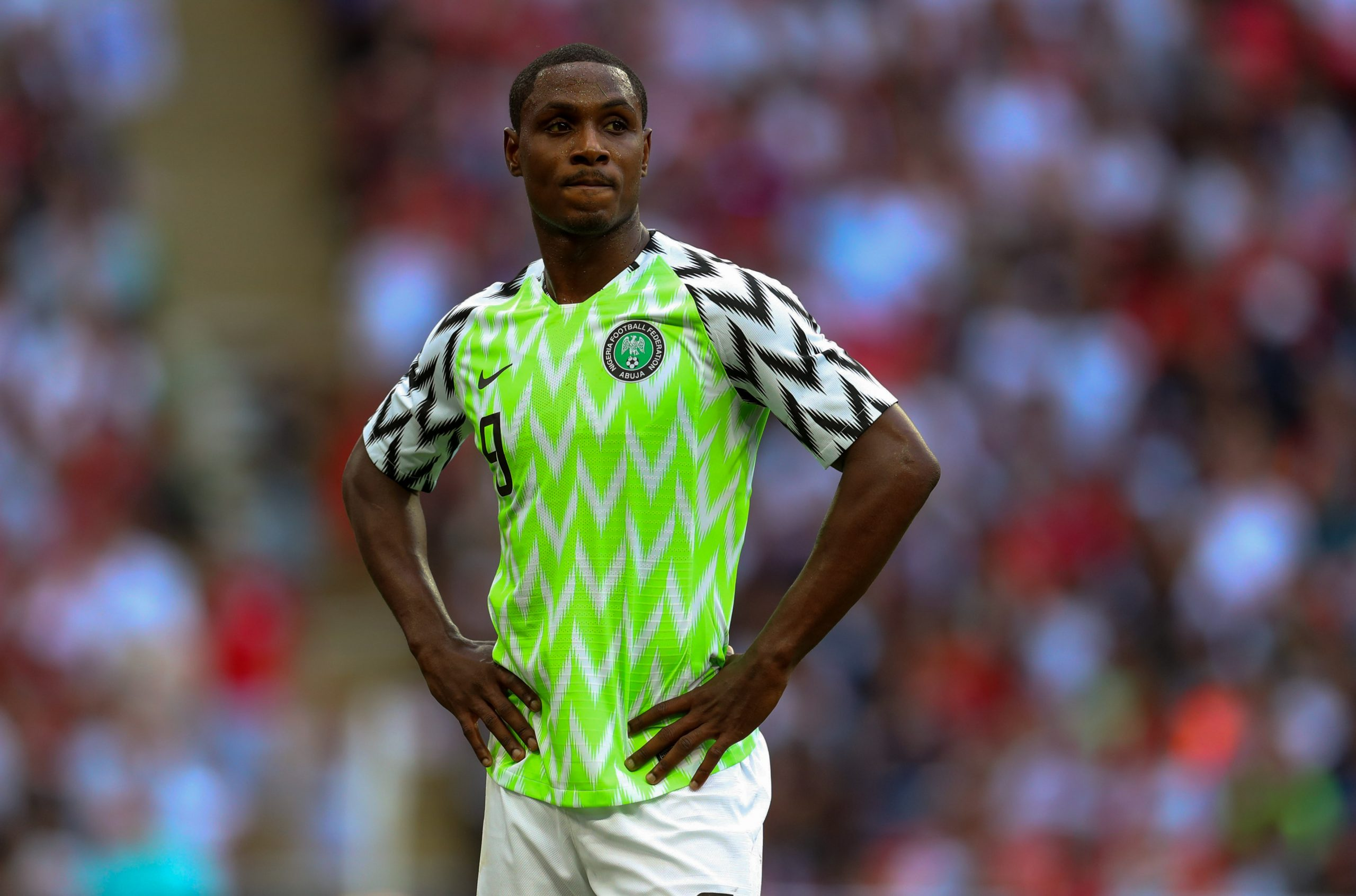 2 June 2018: Odion Ighalo of Nigeria during an international friendly match against England  at Wembley Stadium, London. (Photograph by Catherine Ivill/ Getty Images)