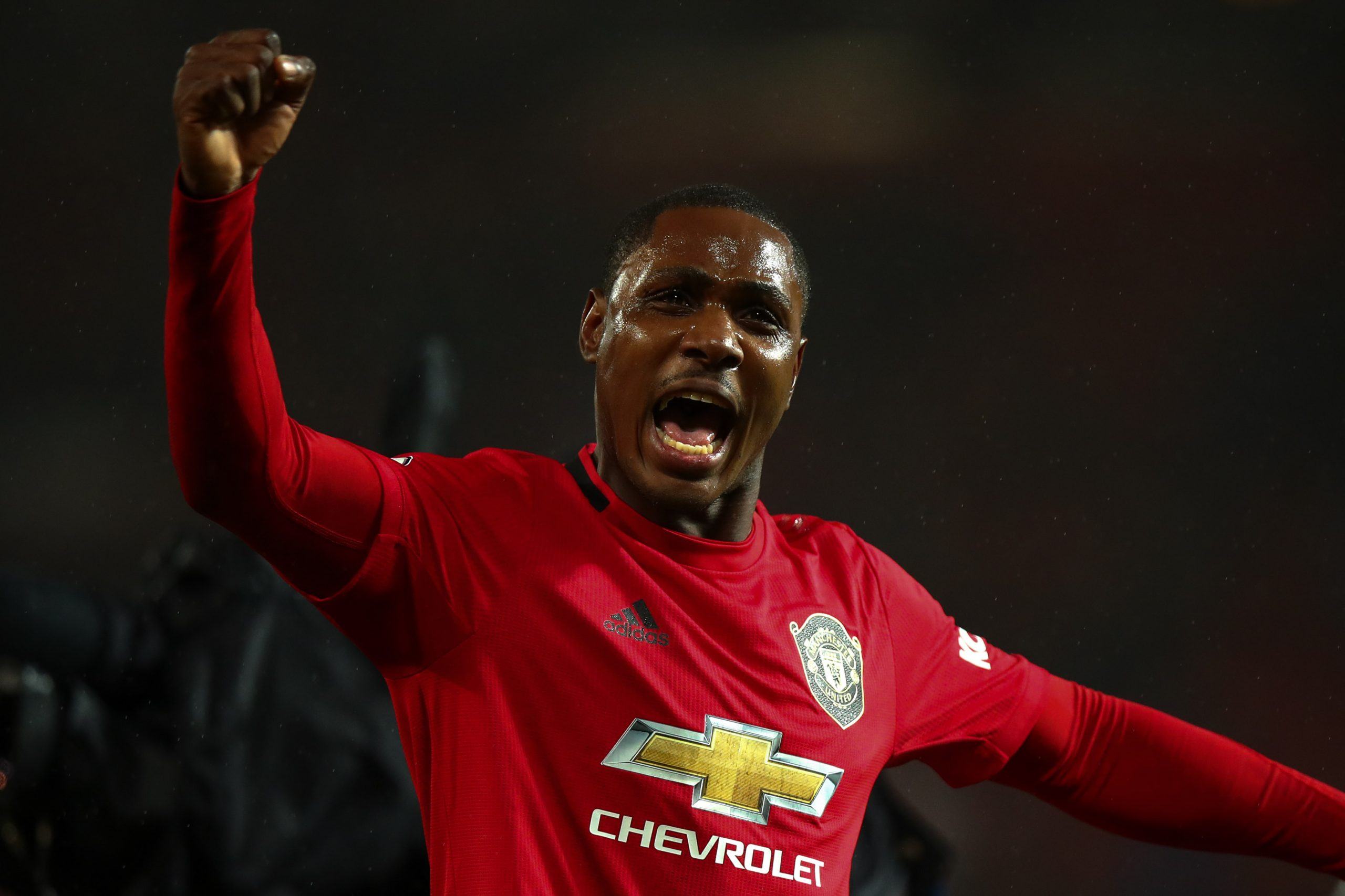 8 March 2020: Odion Ighalo celebrates Manchester United's 2-0 victory over Manchester City in the Premier League match at Old Trafford. (Photograph by Robbie Jay Barratt/ AMA/ Getty Images)
