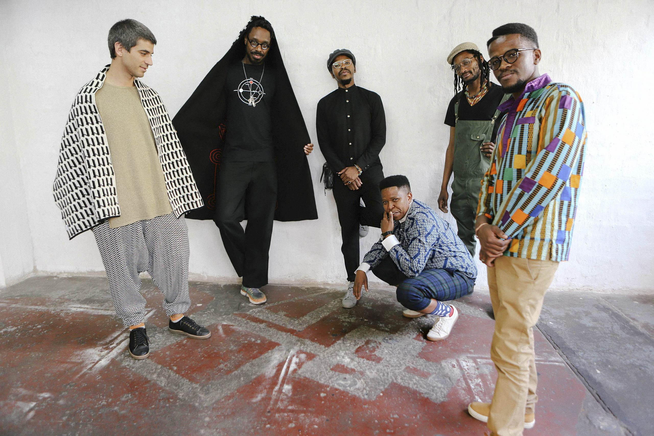 20 September 2019: Centre (crouching), vocalist Siyabonga Mthembu's United States tour with Shabaka Hutchings and the Ancestors has been cancelled. (Photograph by Tjaša Gnezda)