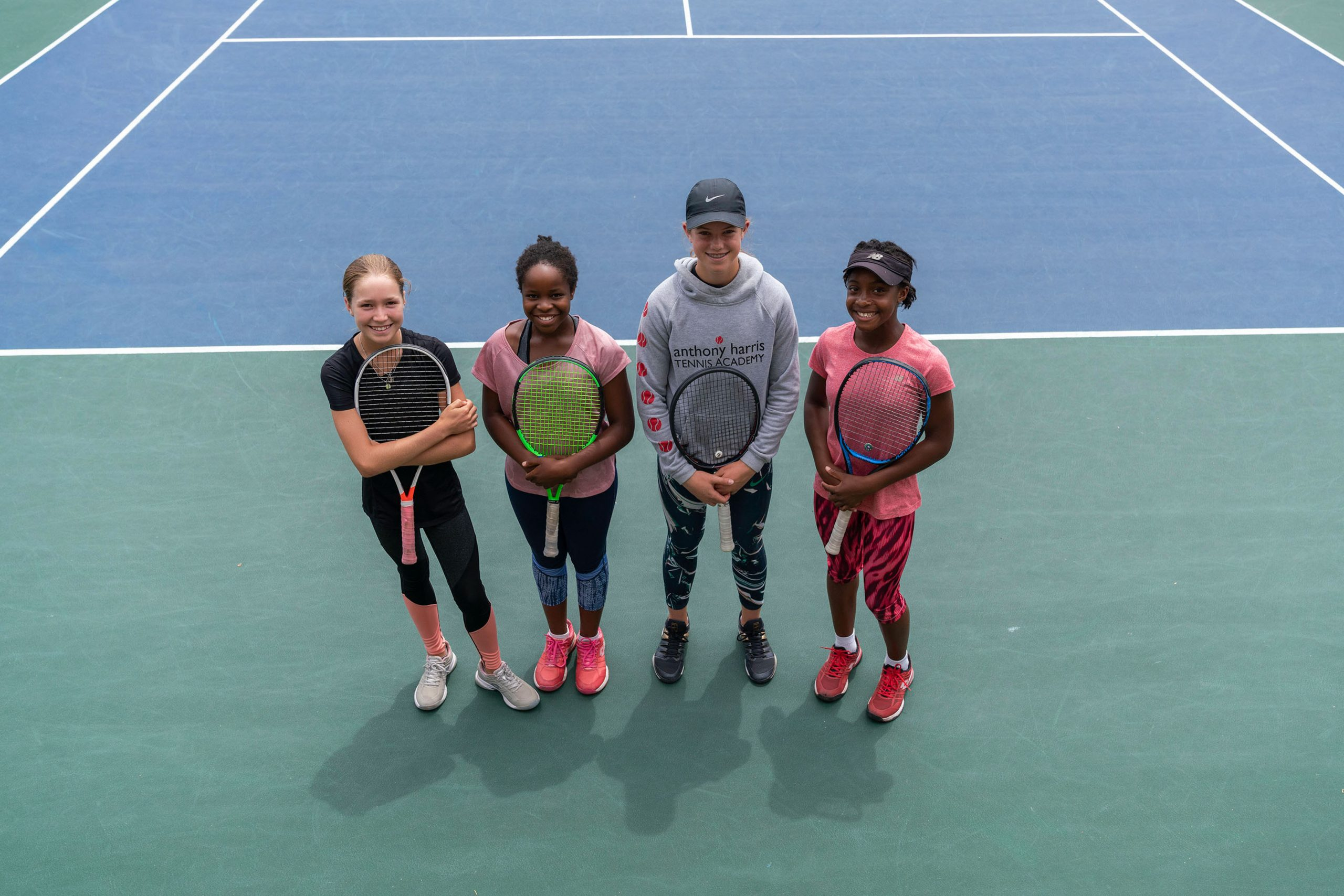 7 February 2020: From left, Ché Nel, Sasha Chimedza, Sophia Fuller and Rinnah Okanja, four of the academy's promising young players. (Photograph by Ihsaan Haffejee)