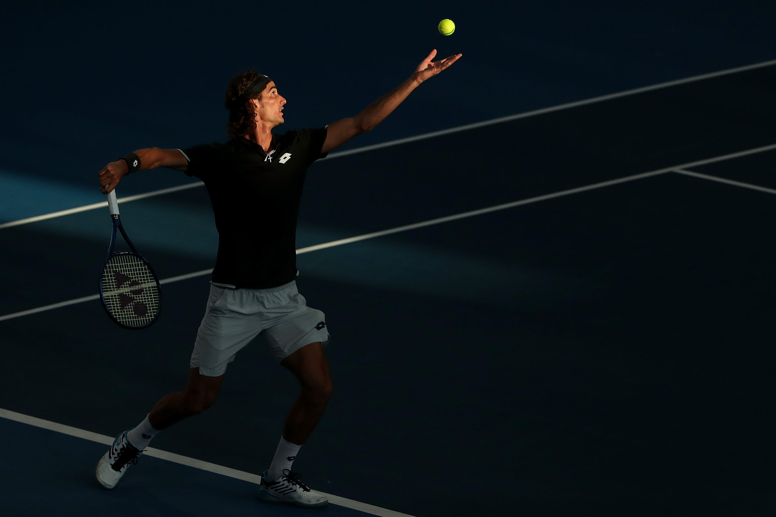 18 January 2020: Lloyd Harris serves to Russia's Andrey Rublev during the final of the Adelaide International in Adelaide, Australia. (Photograph by Paul Kane/Getty Images)