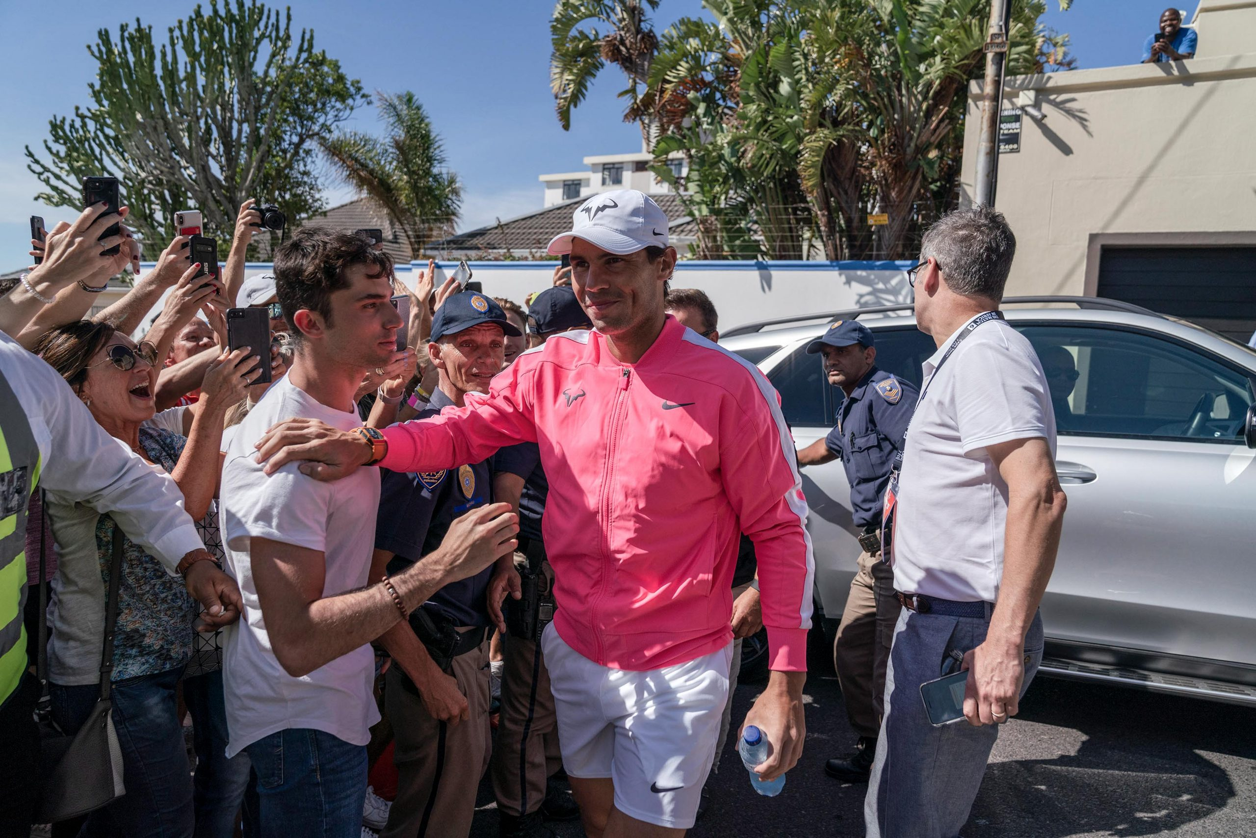 6 February 2020: Rafael Nadal enters the Anthony Harris Tennis Academy in Cape Town, where he made an appearance alongside Roger Federer ahead of Match in Africa 6. (Photograph by Ihsaan Haffejee)