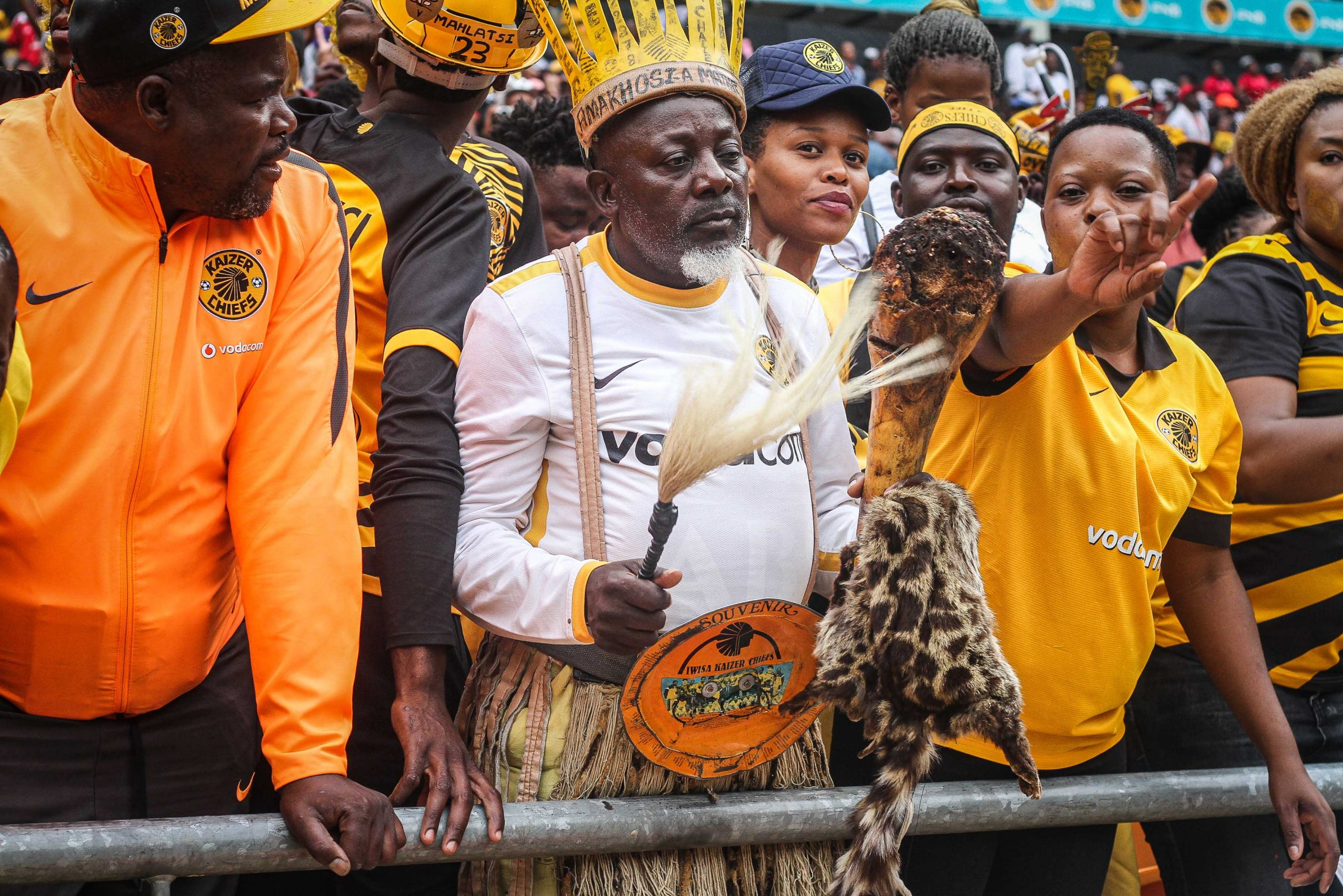 29 February 2020: Chiefs fans at the Soweto Derby called on the ancestors before kickoff. (Photograph by Lebo Edgar)