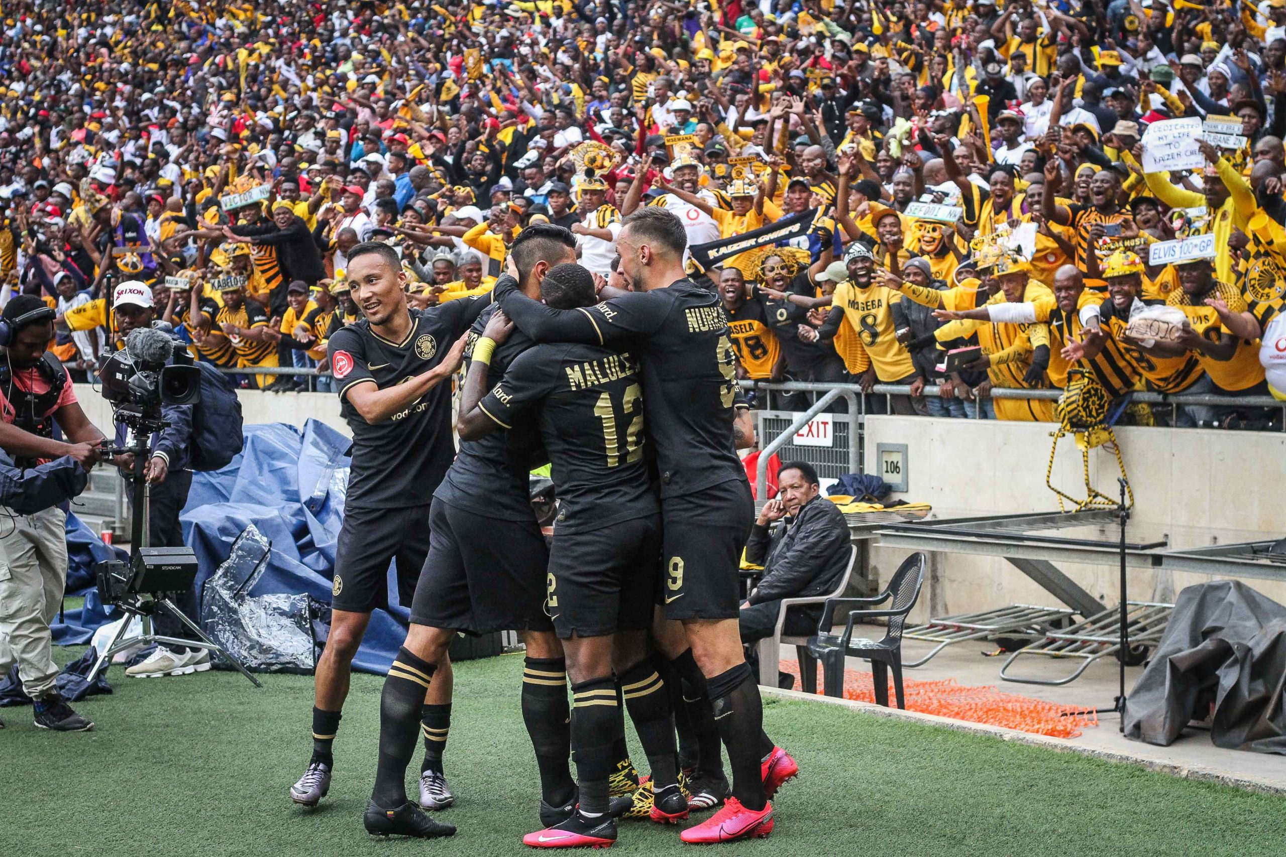 "29 February 2020: Kaizer Chiefs celebrate Lebogang ""Service Delivery"" Manyama's goal. (Photograph by Lebo Edgar)"