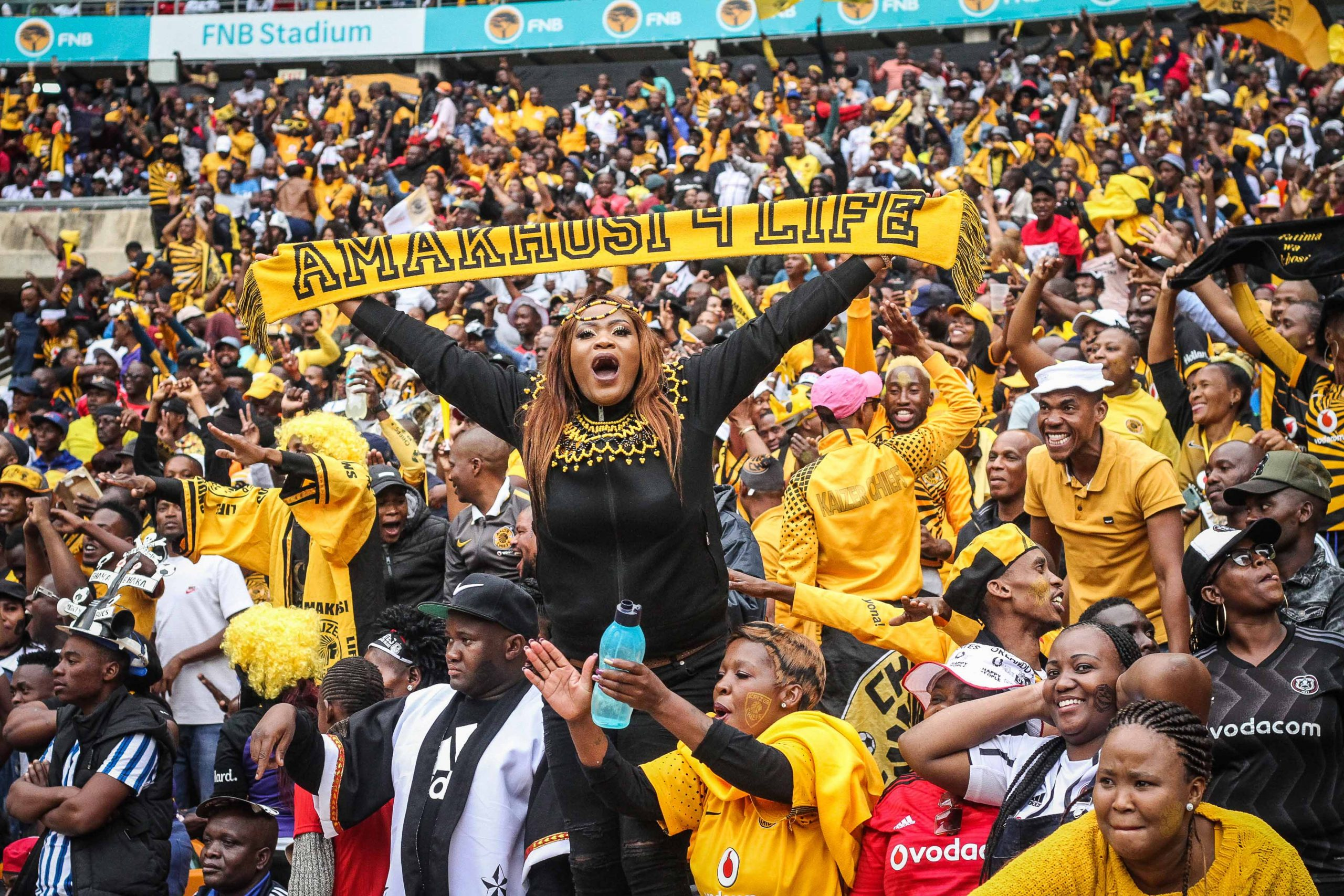 29 February 2020: Chiefs fans laud the single goal that won the match. (Photograph by Lebo Edgar)