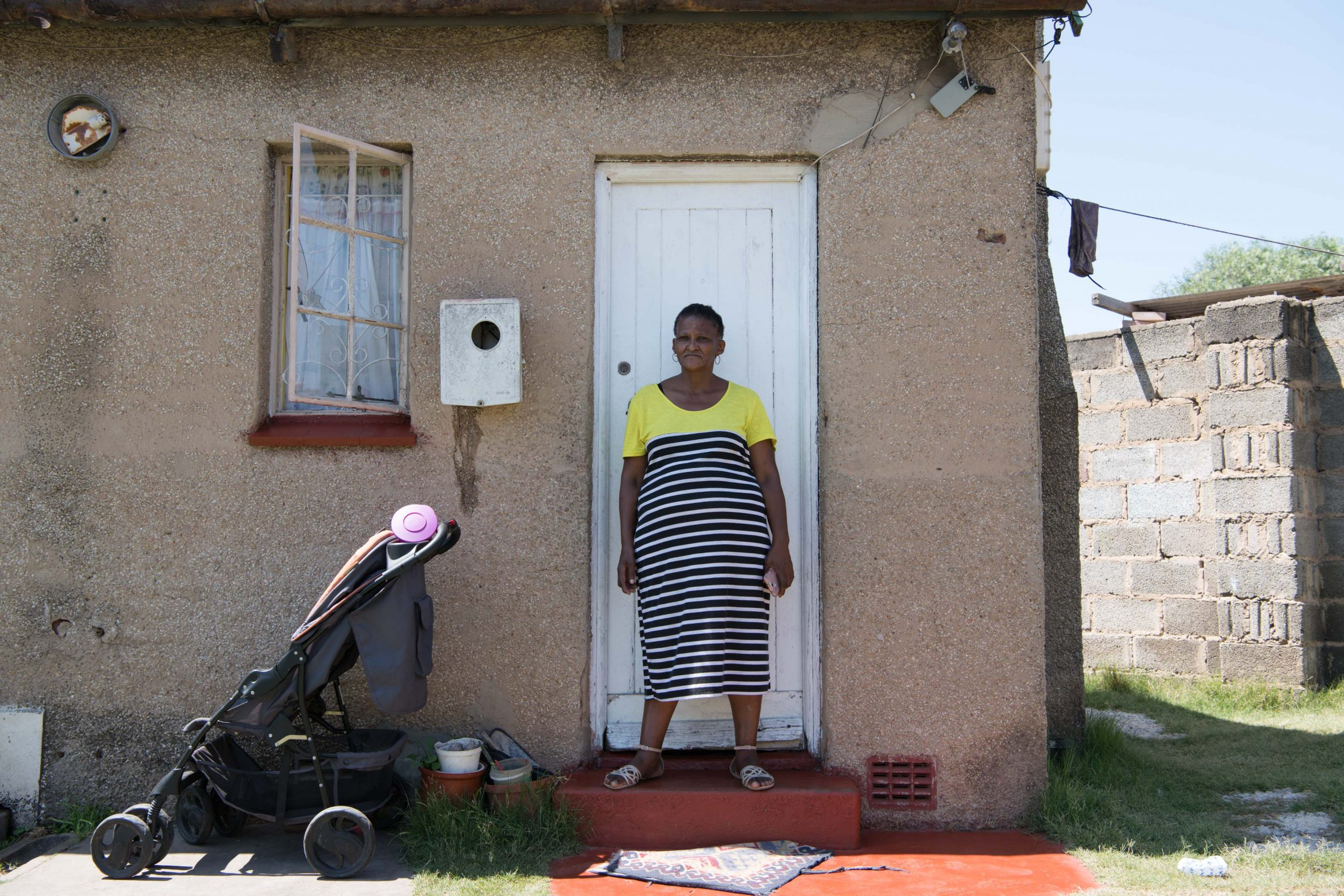 3 February 2020: Phumla Gquela in front of her one-room home.