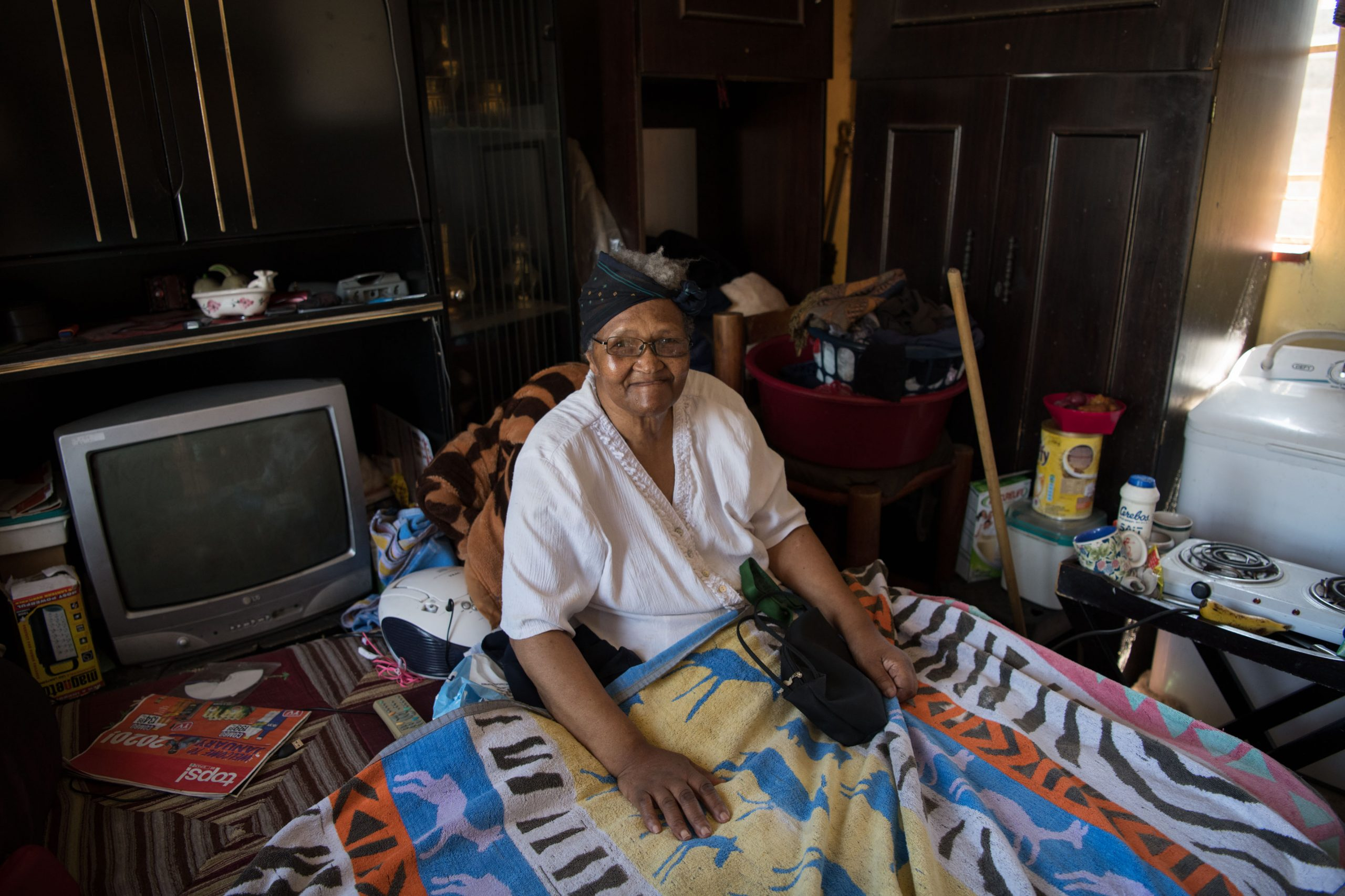 3 February 2020: Nonkululeko Takane has diabetes and both of her legs have been amputated. Her home is not big enough to accommodate her wheelchair so she has to keep it at her son's house, also at Adcock Homes.
