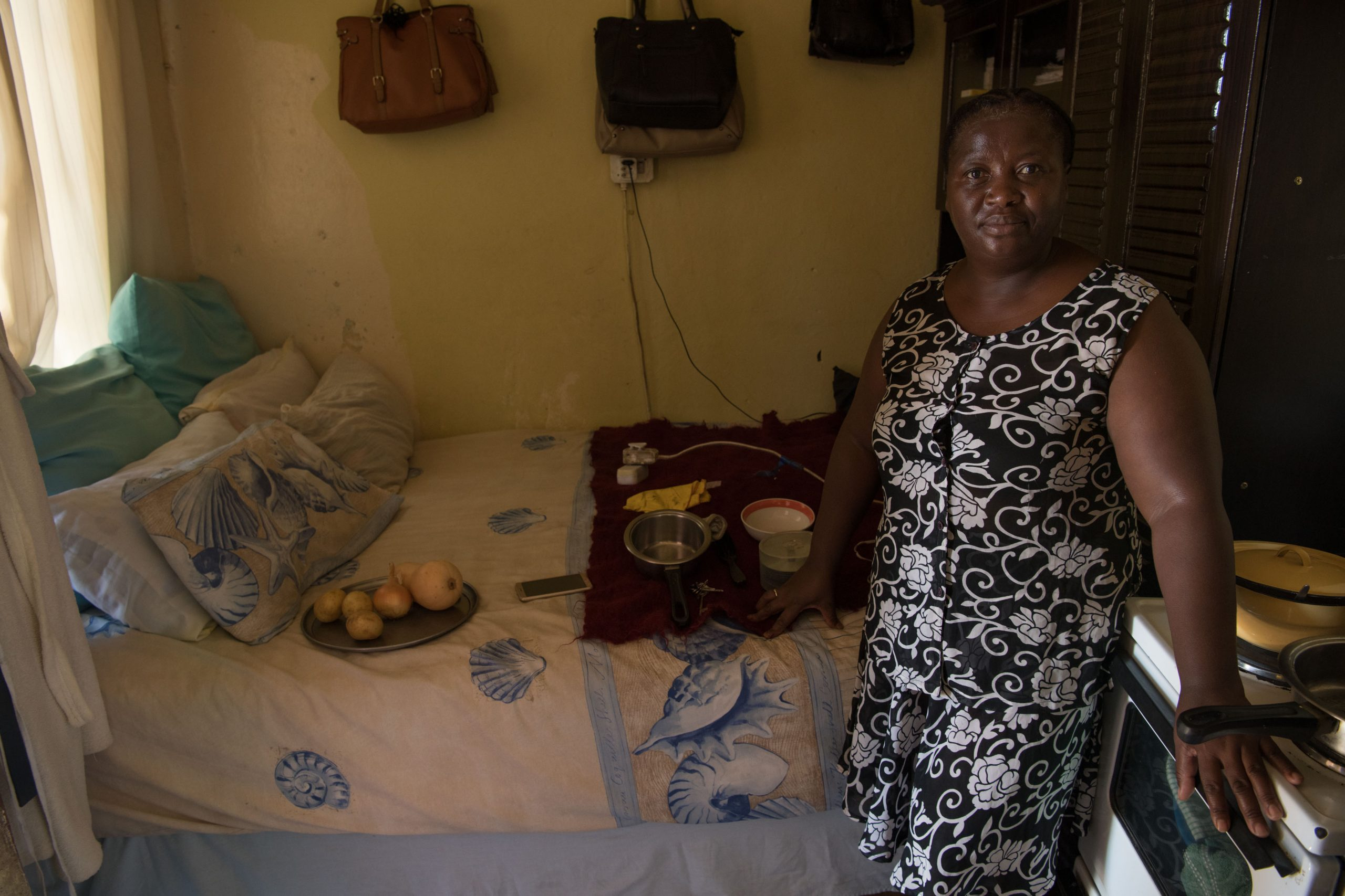 3 February 2020: Phelelwa Pikoli in her room. She has to share a bed with her 23-year-old son.