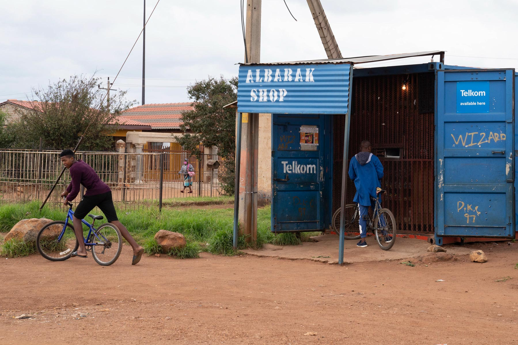 9 April 2020: Young boys cycle to the spaza shop in Sebokeng to buy supplies. (Photograph by Ihsaan Haffejee)