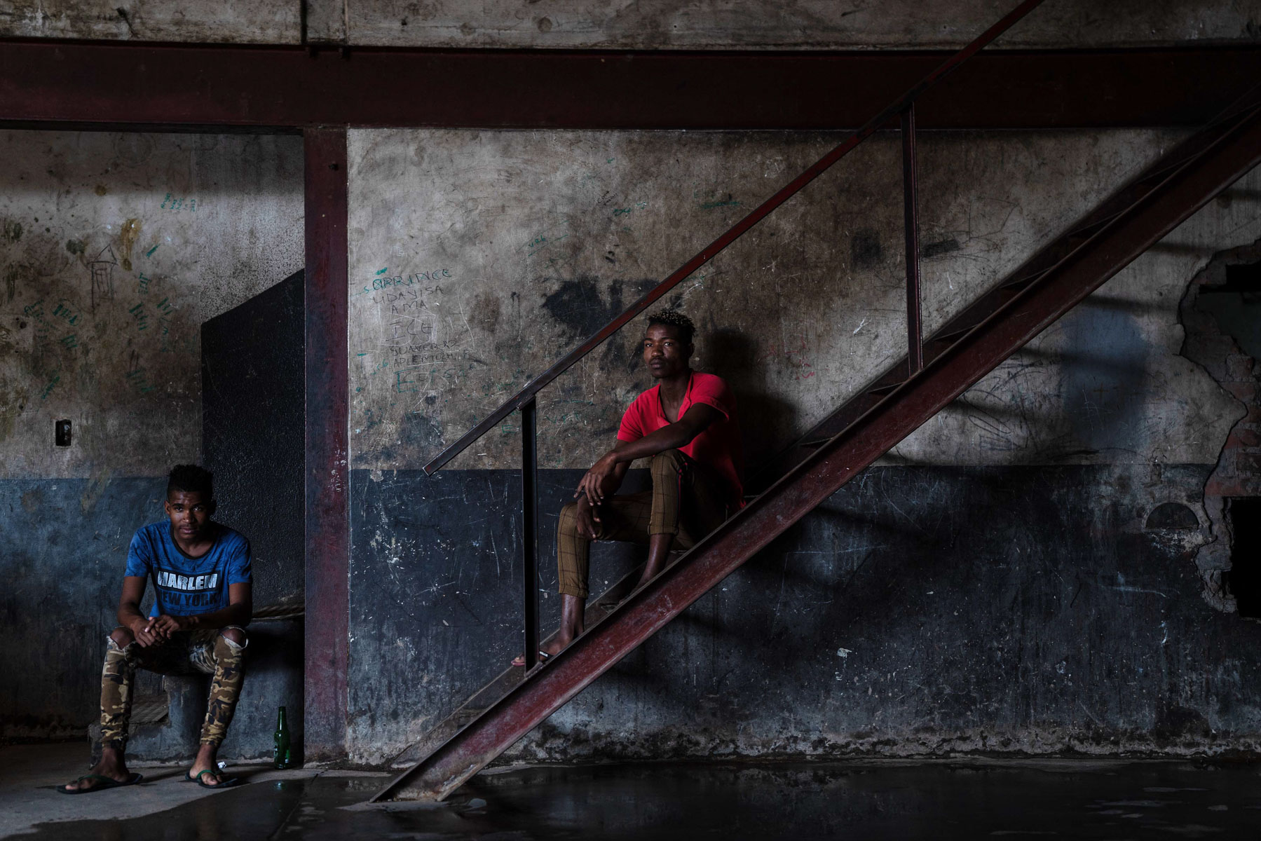 8 April 2020: From left, brothers Mpho and Ashley Molepa lost their parents at a young age. They live in a small room inside an abandoned factory on minimal income and rely on food parcels from Rays of Hope.