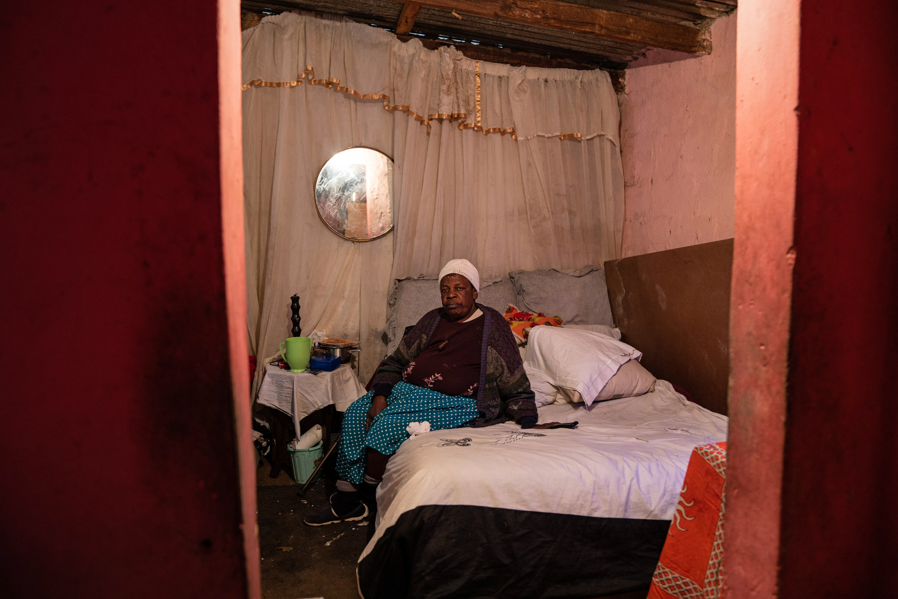 8 April 2020: Ruth Sithole in her tiny home in Alexandra, where she has lived for 30 years. Her husband died in a fire there a couple of years ago.