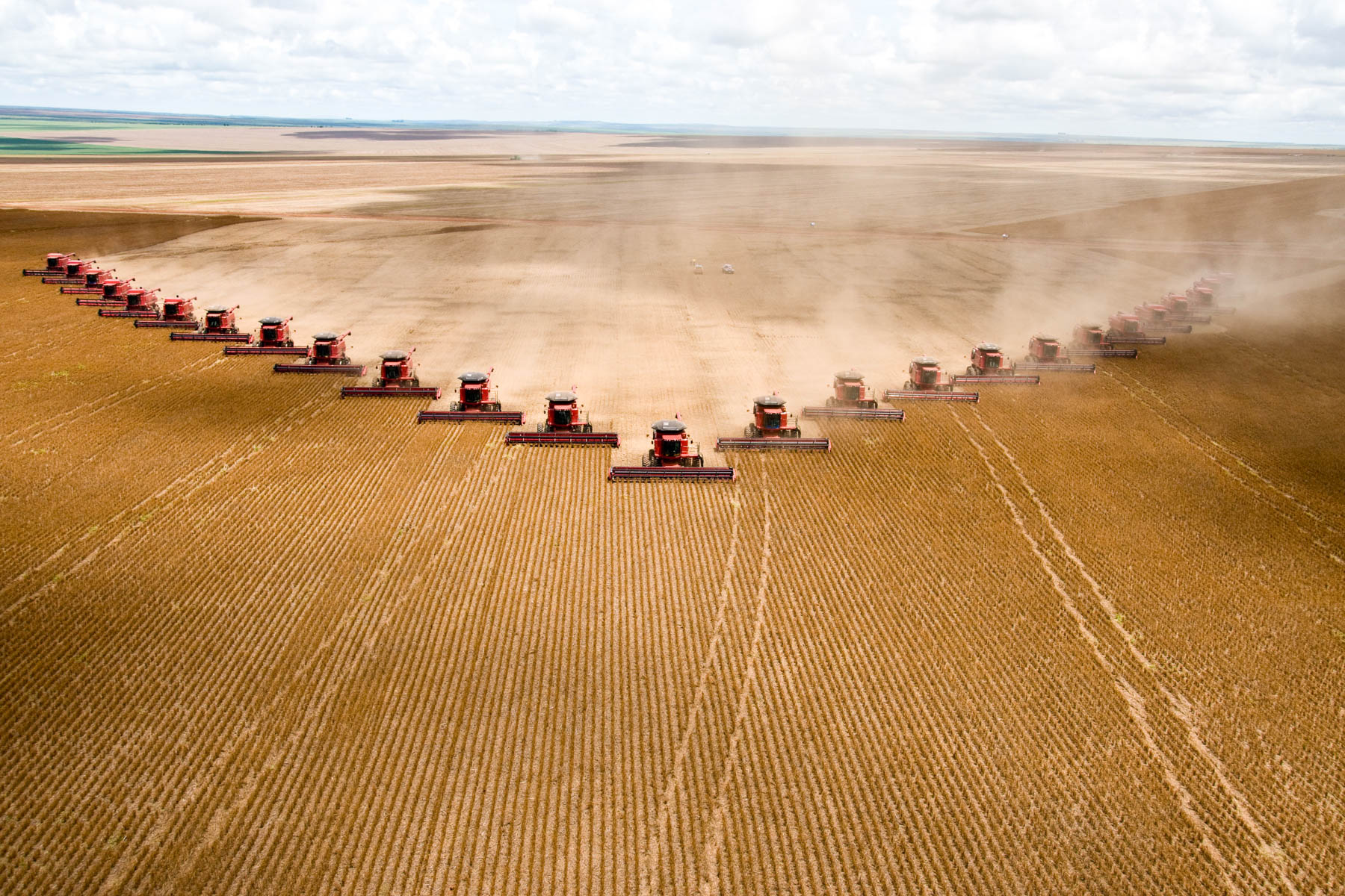 2 March 2008: Soybeans are harvested at Fartura Farm in Mato Grosso state. Brazil is the second-largest soy producer worldwide. (Photograph by Paulo Fridman/ Corbis via Getty Images)