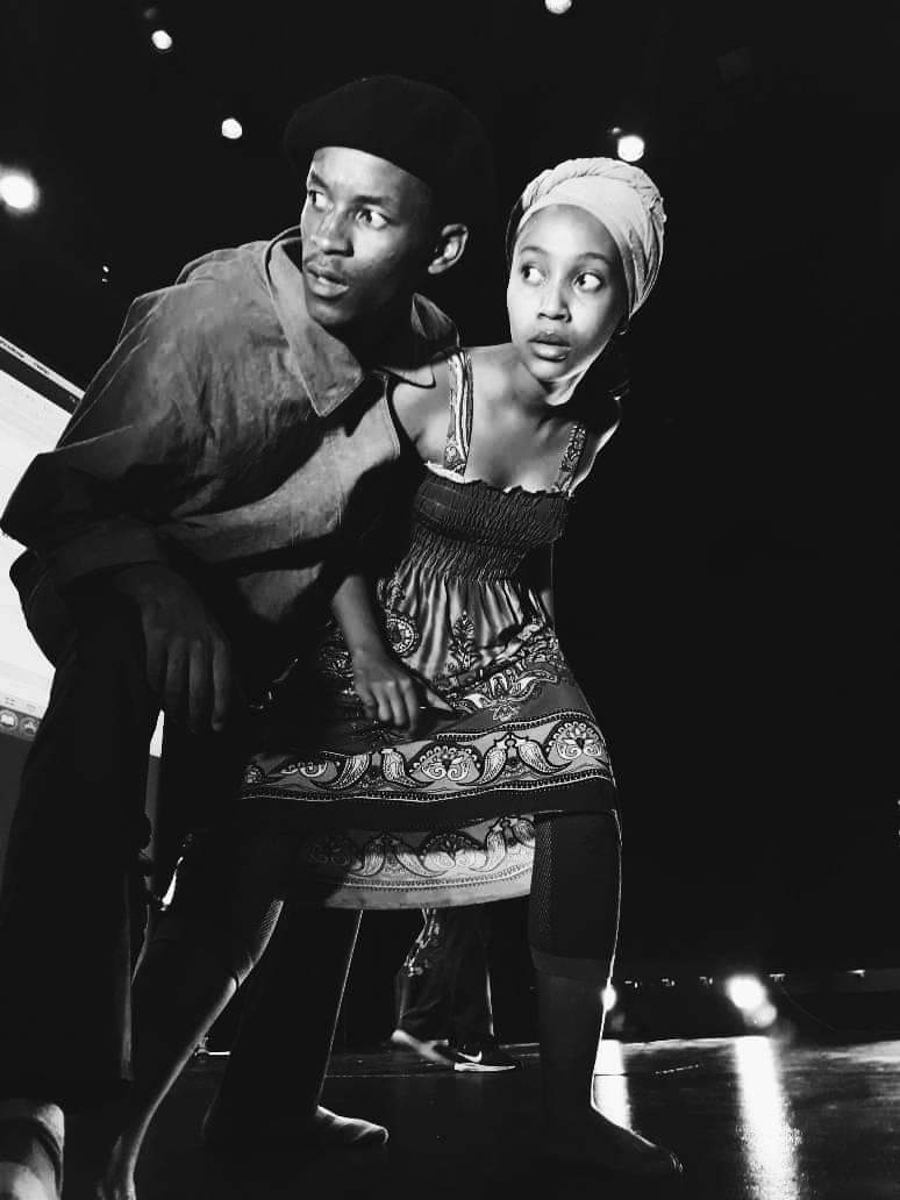 2019: Sicelo Buthelezi and Mosenhlana Mamaregane rehearse a scene from Babylon Beyond Borders, a collaboration between four theatres in different countries. (Photograph: Supplied)
