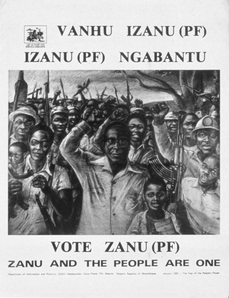 Undated: Guerilla leader Robert Mugabe leading the 'masses' to victory. (Photograph courtesy of Basler Afrika Bibliographien)