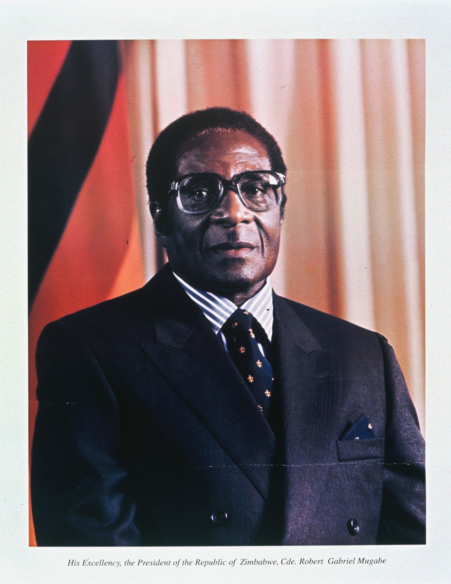 Undated: Robert Mugabe's first official portrait as president of Zimbabwe, a position he assumed in 1987. (Photograph courtesy of Basler Afrika Bibliographien)