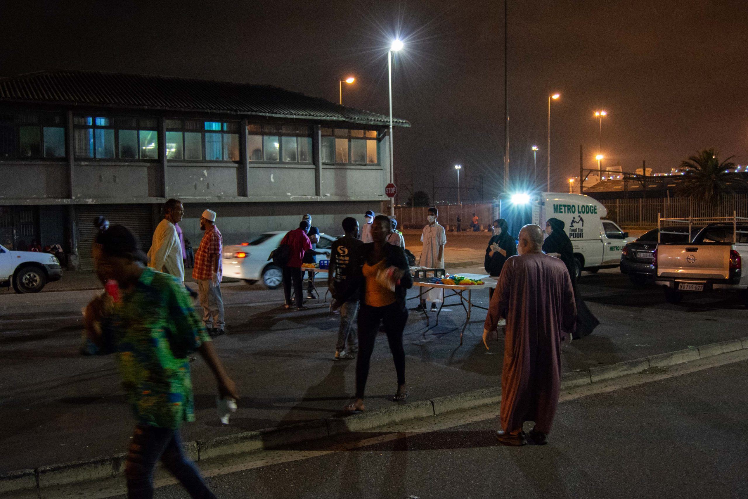 Undated: eThekwini residents, most of them homeless, arrive to get food parcels provided by the charitable organisation Feeding the Poor.