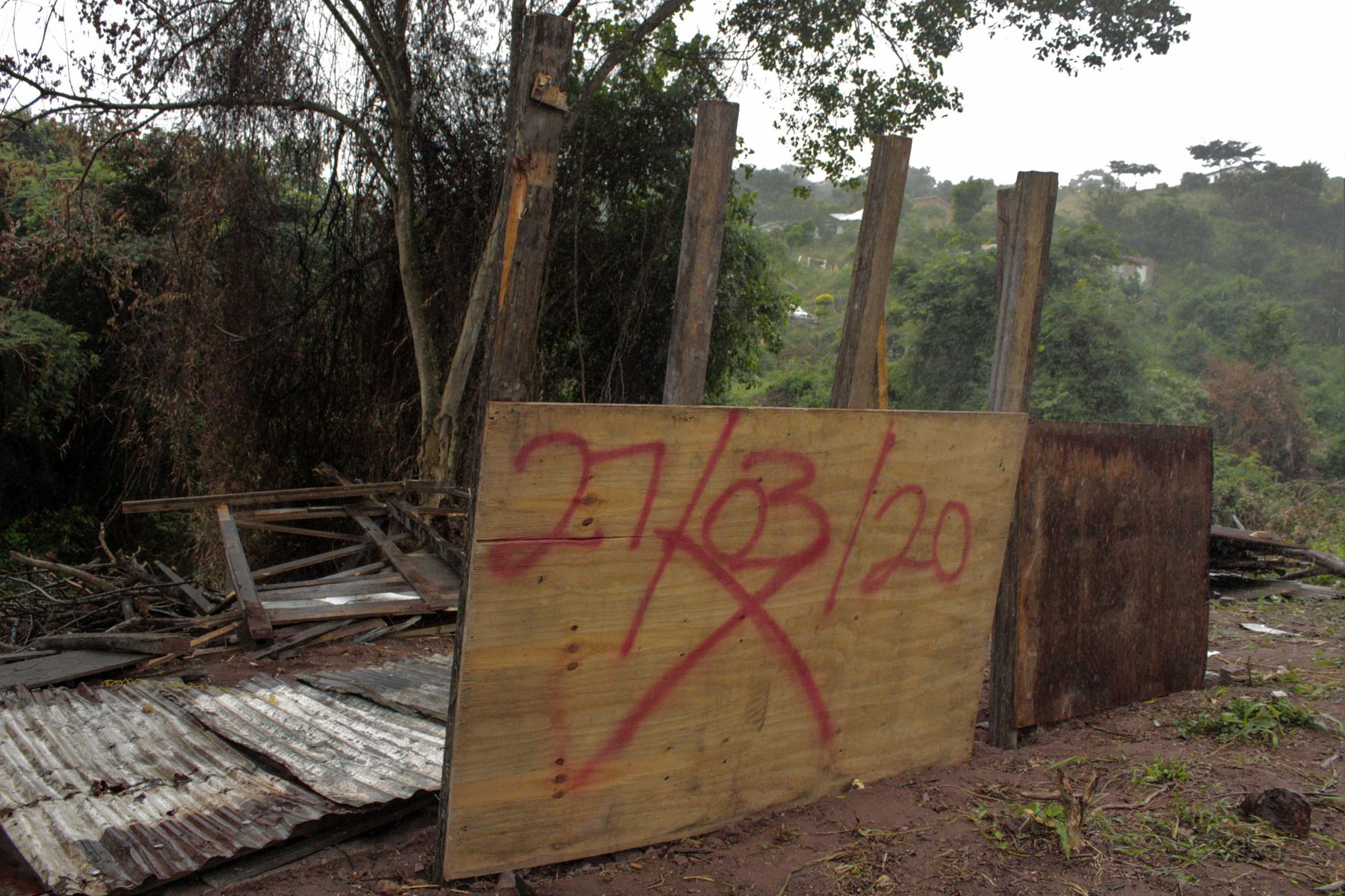 3 April 2020: All that remains of Sipho Sithole's home, which was demolished three times in less than a week. Even if he could afford to rebuild it, the hardware shops have been closed during the Covid-19 national lockdown.