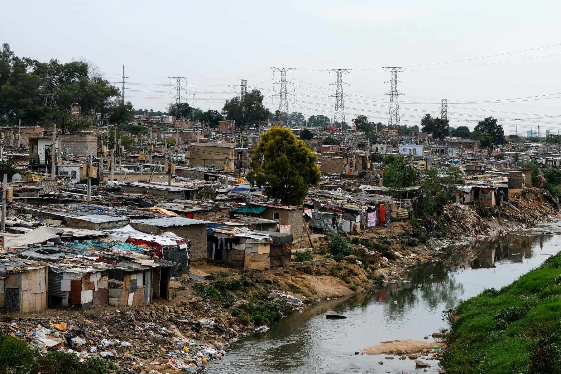 1 April 2020: The Stjwetla shack settlement on the banks of the Jukskei River.