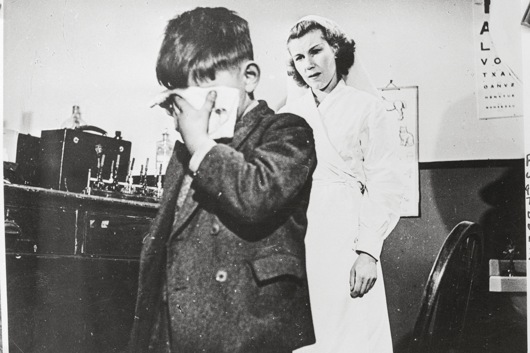 1943: A scene from a film released by the British Ministry of Information as part of a campaign against venereal disease. It depicts the son of an infected parent in danger of becoming blind through inherited syphilis. (Photograph by Getty Bettmann Archive)