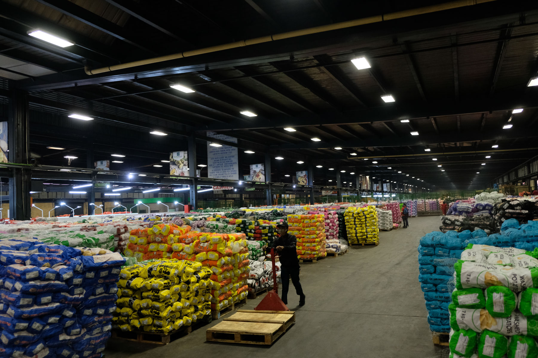 8 May 2020: Avenues of potatoes at the City Deep market. One in three potatoes in South Africa is sold by a street trader.