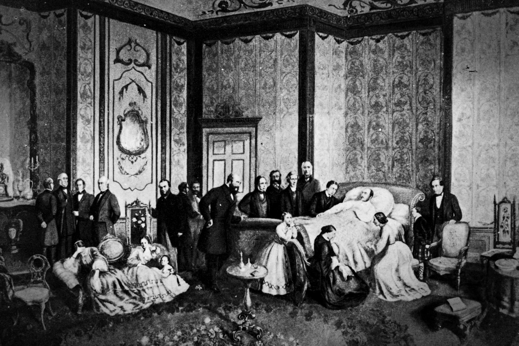 December 1861: Prince Albert, consort of Queen Victoria, lies on his deathbed in the Blue Room at Windsor Castle. He succumbed to typhoid fever on 14 December. (Photograph by Hulton Archive/ Getty Images)